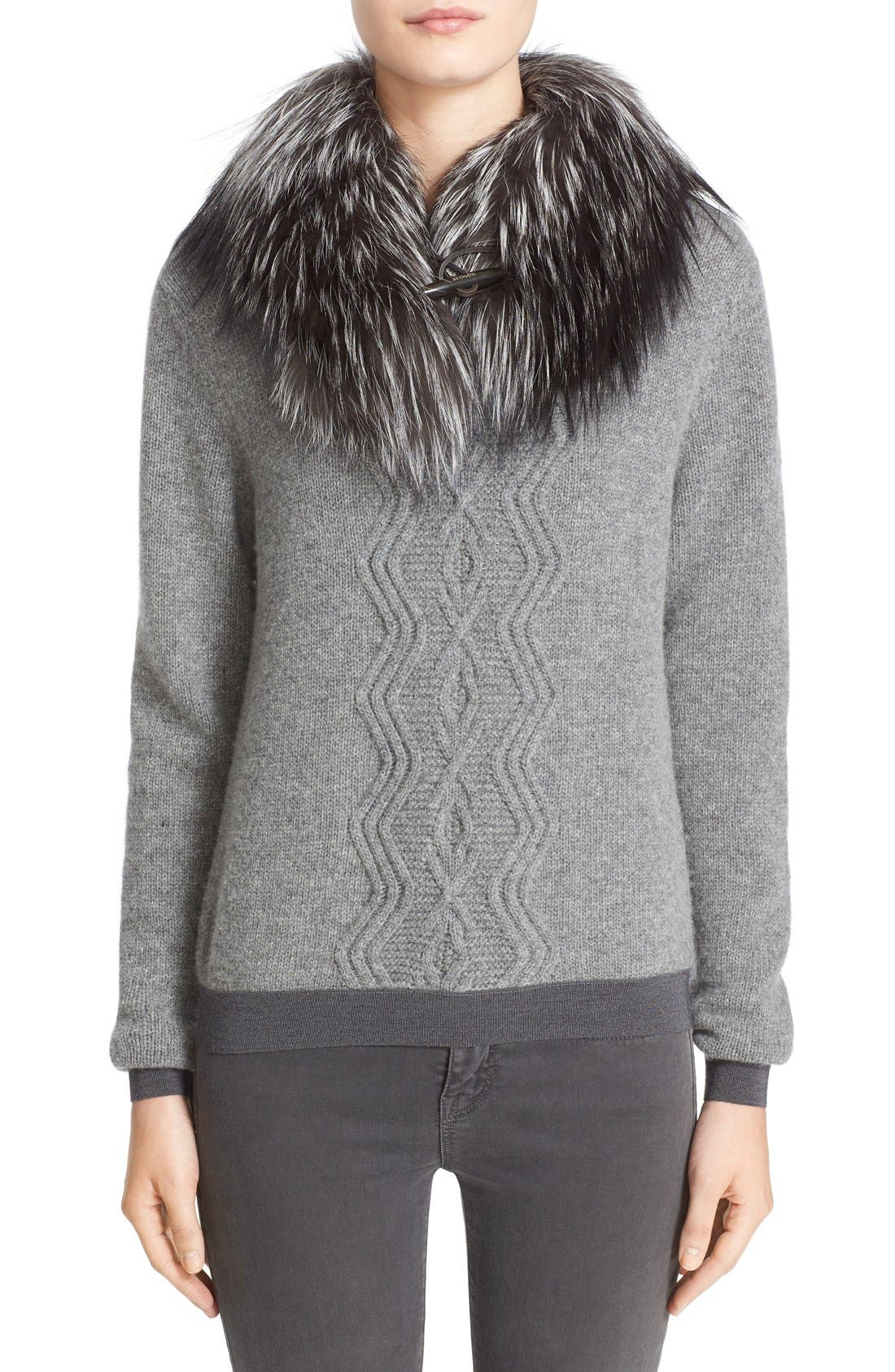 Wool & Cashmere Sweater with Removable Genuine Fox Fur Collar,                             Main thumbnail 1, color,                             031