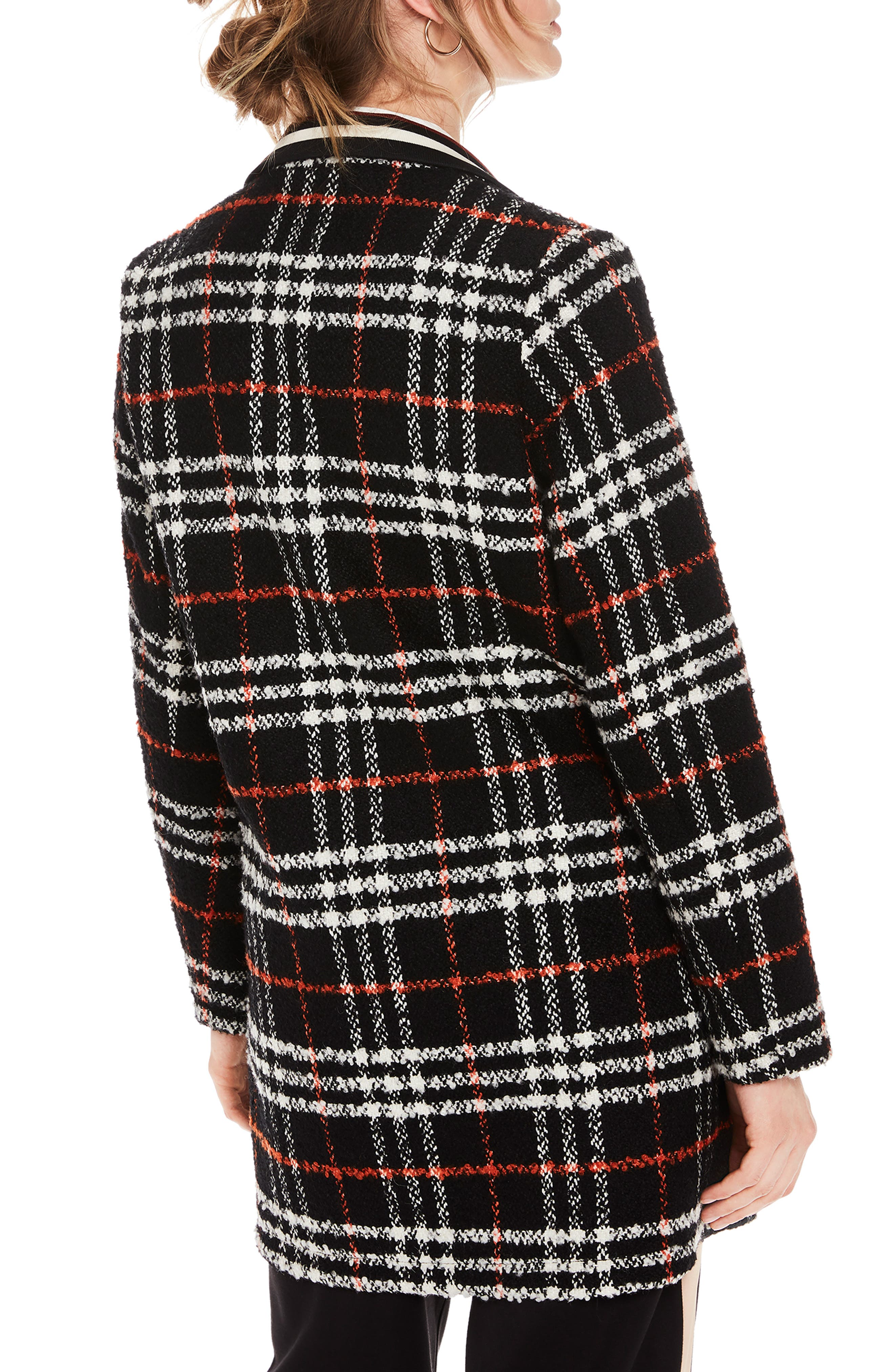 Bonded Wool Blend Jacket,                             Alternate thumbnail 2, color,                             BLACK AND RED PLAID