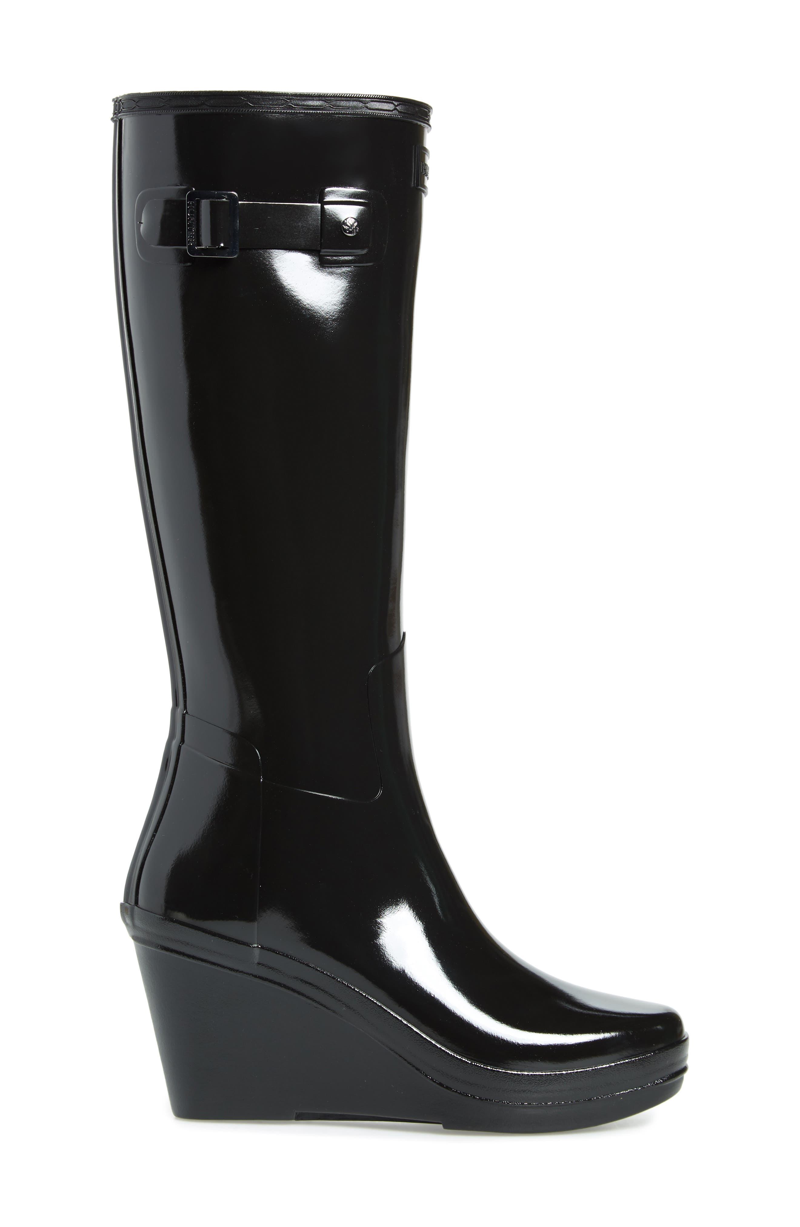 Refined Knee High Waterproof Rain Boot,                             Alternate thumbnail 3, color,                             BLACK