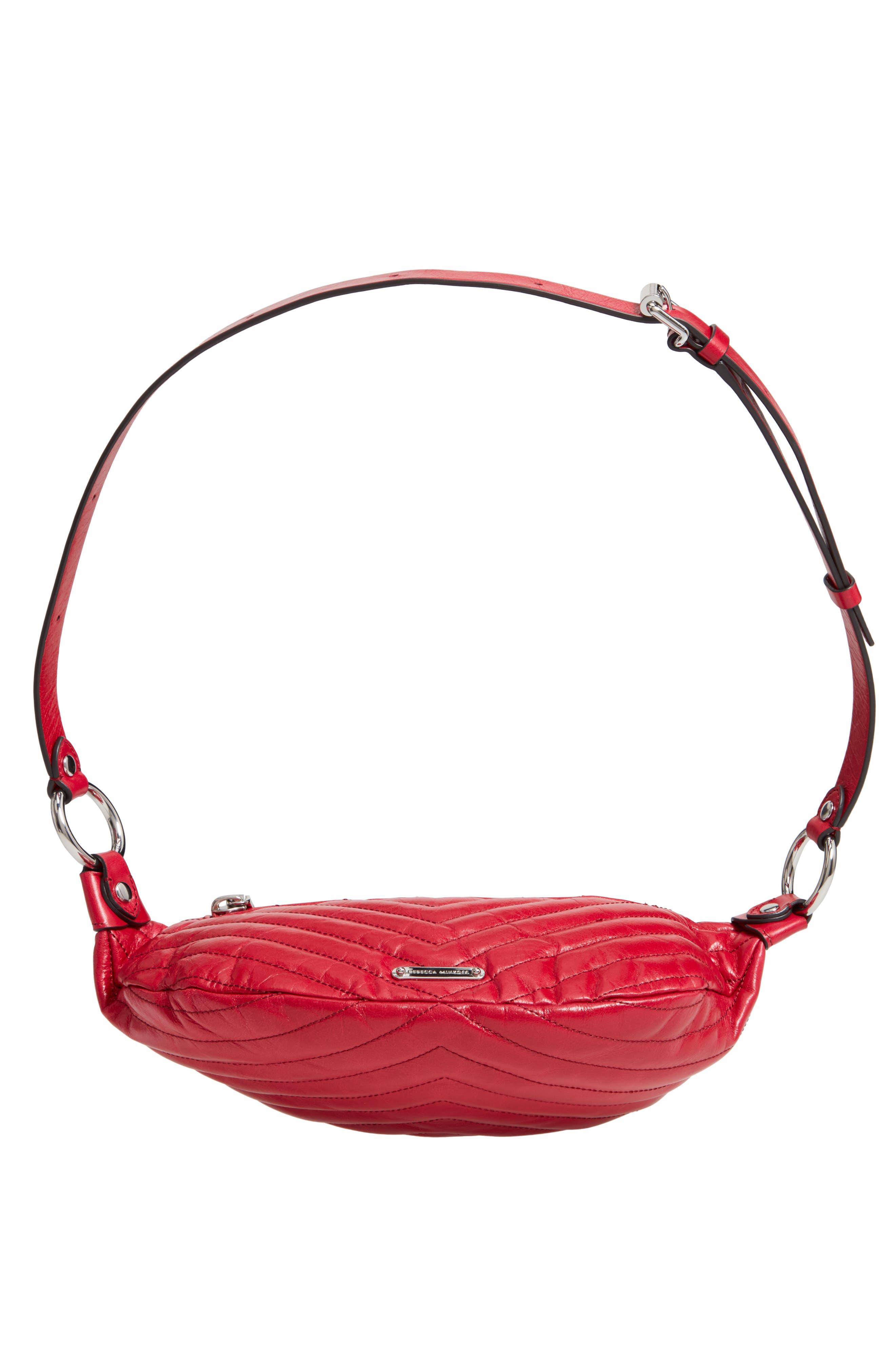 Edie Leather Belt Bag,                             Alternate thumbnail 7, color,                             SCARLET