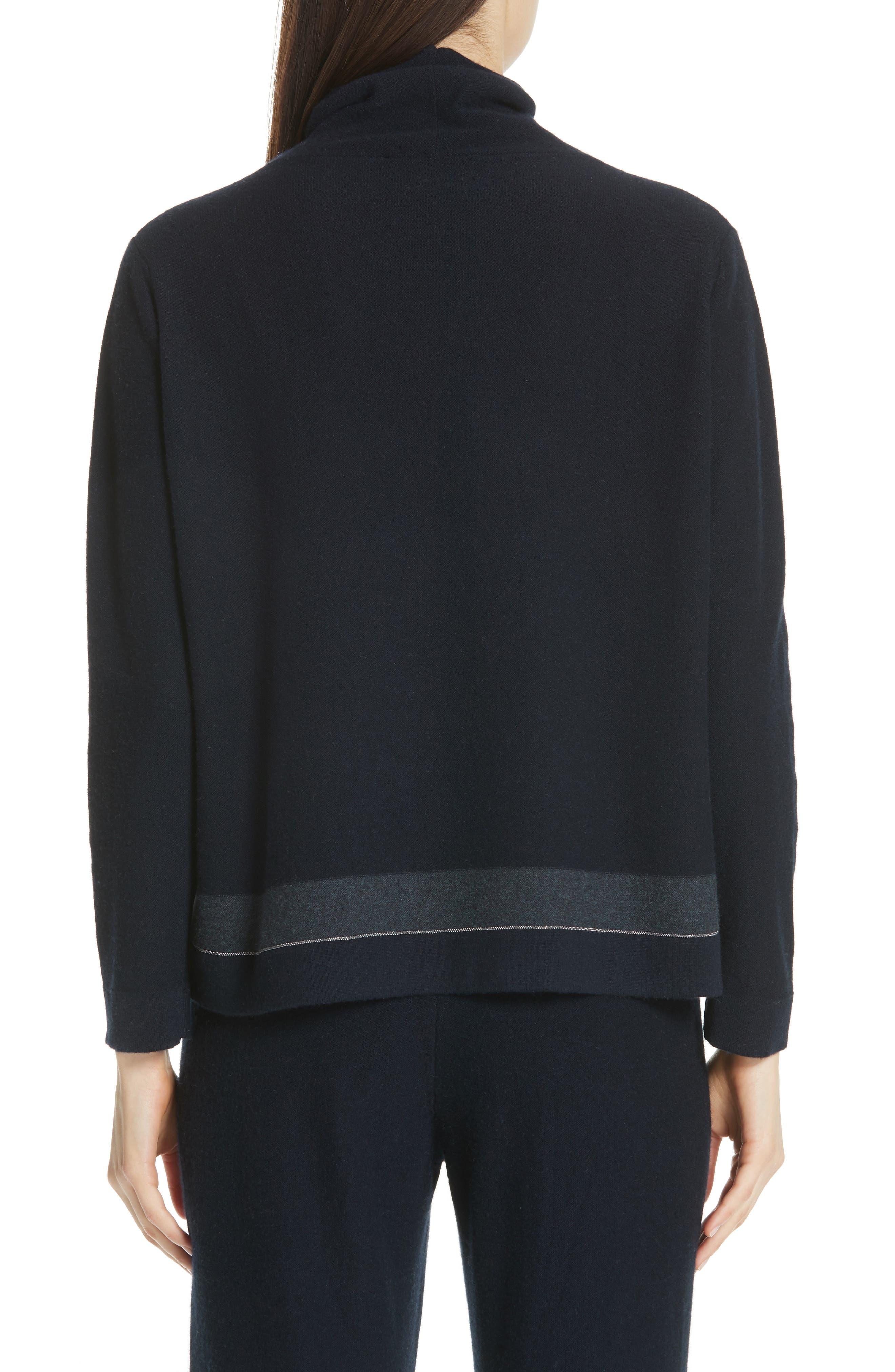 Bead Detail Cashmere Turtleneck Sweater,                             Alternate thumbnail 2, color,                             NIGHT BLUE