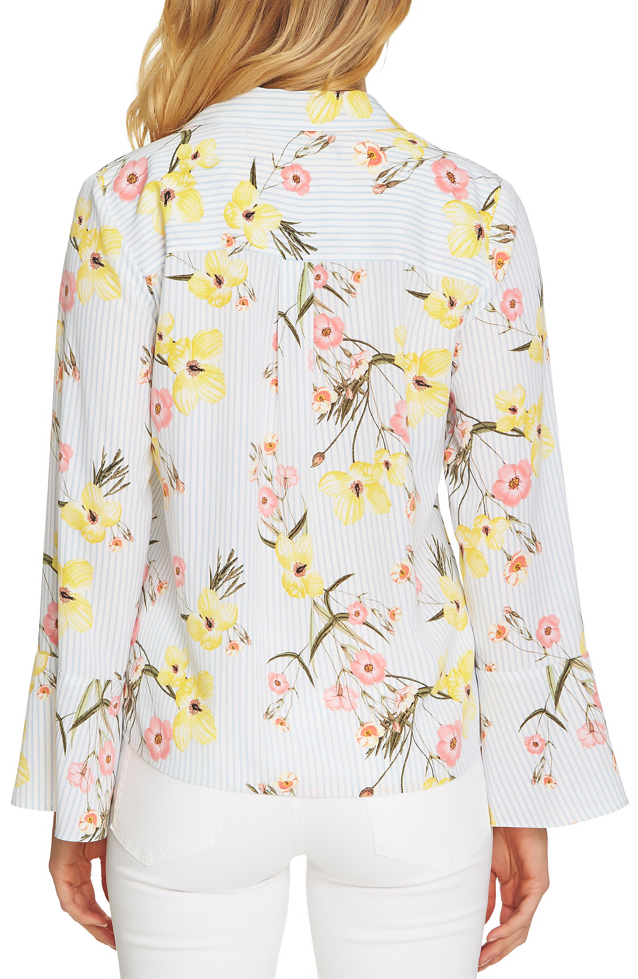 Botanical Blooms Collared Top,                             Alternate thumbnail 2, color,