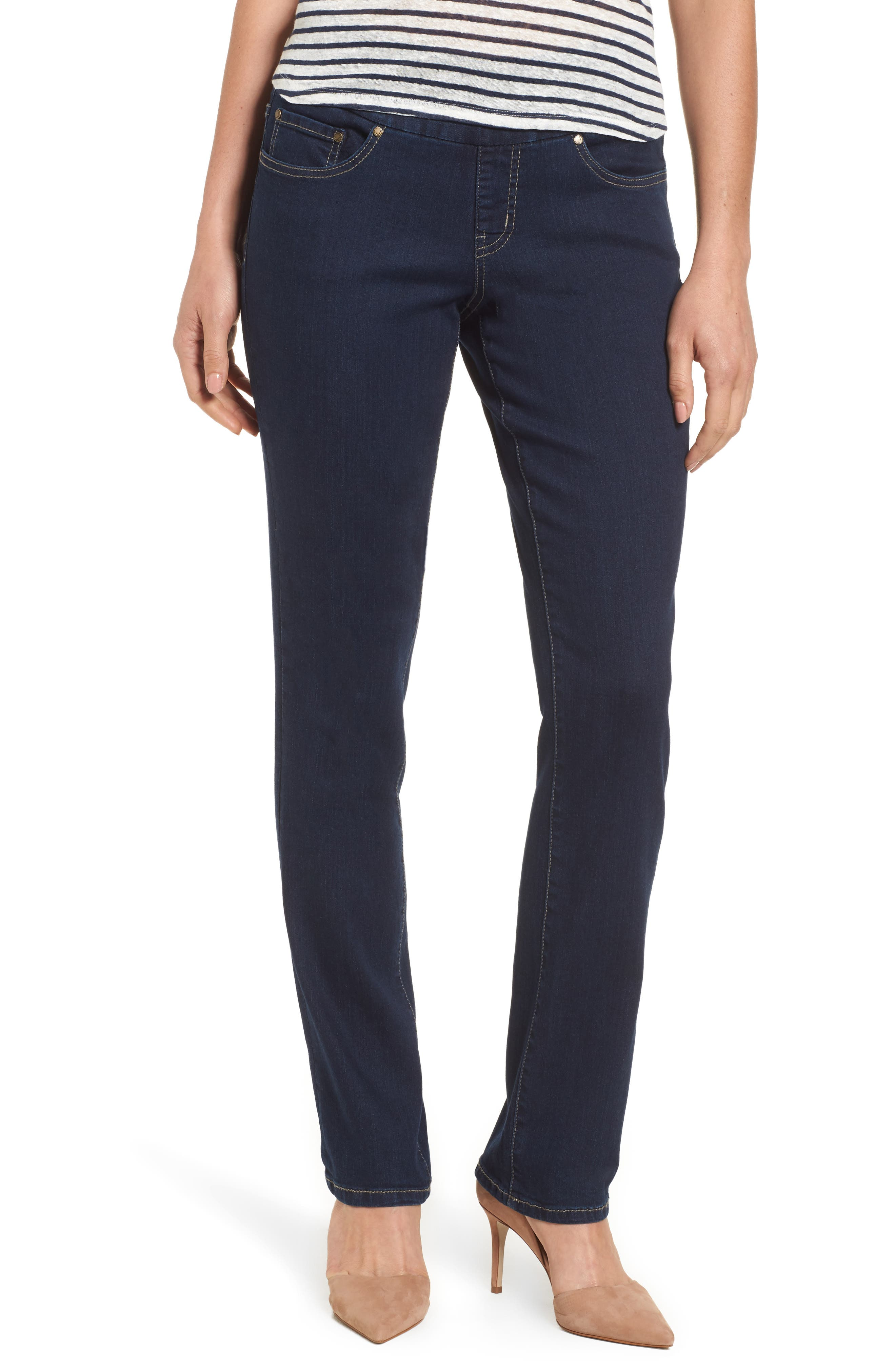 Peri Pull-On Straight Leg Jeans,                         Main,                         color, DARK INDIGO