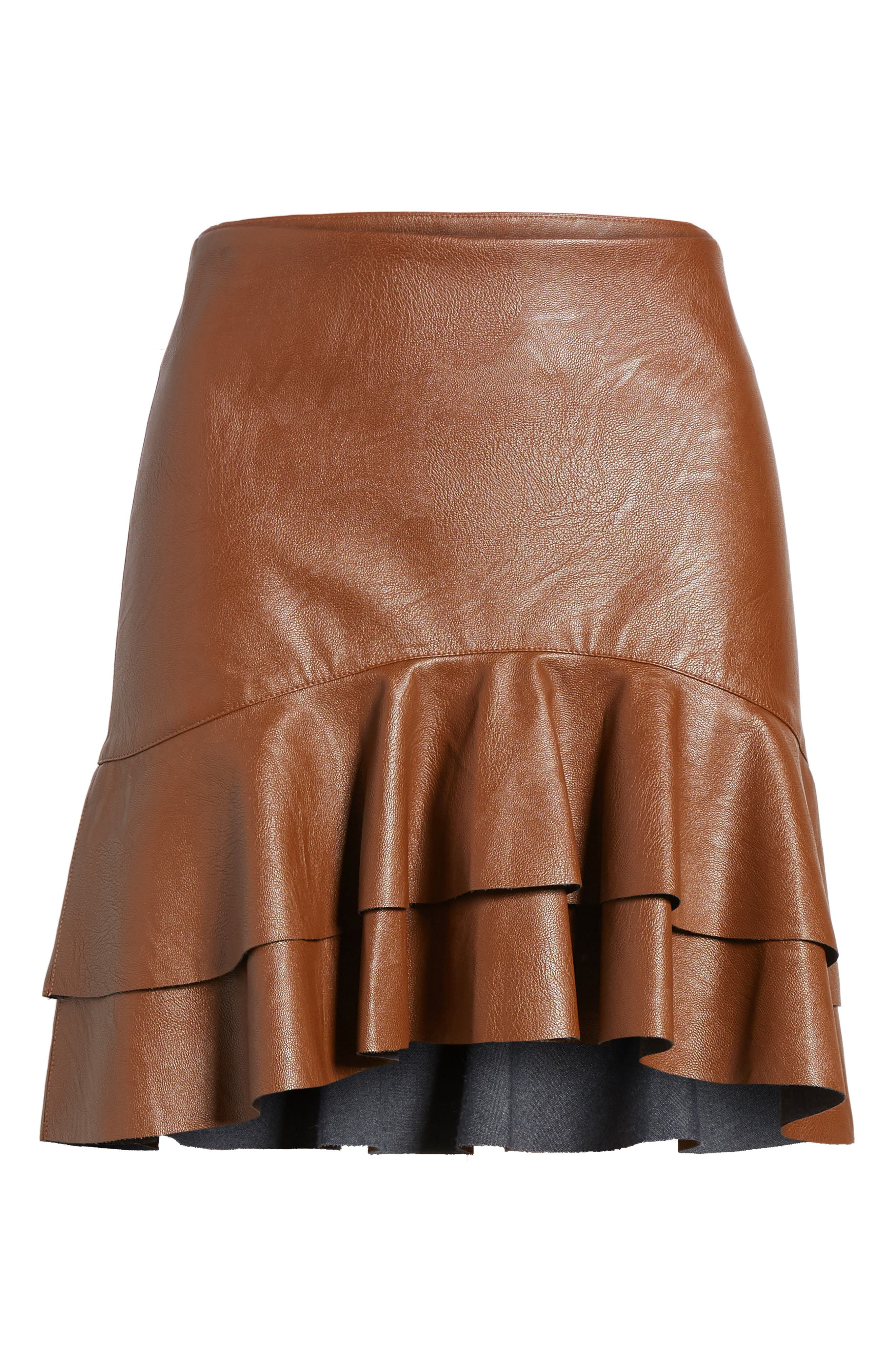 Ruffle Hem Faux Leather Skirt,                             Alternate thumbnail 6, color,