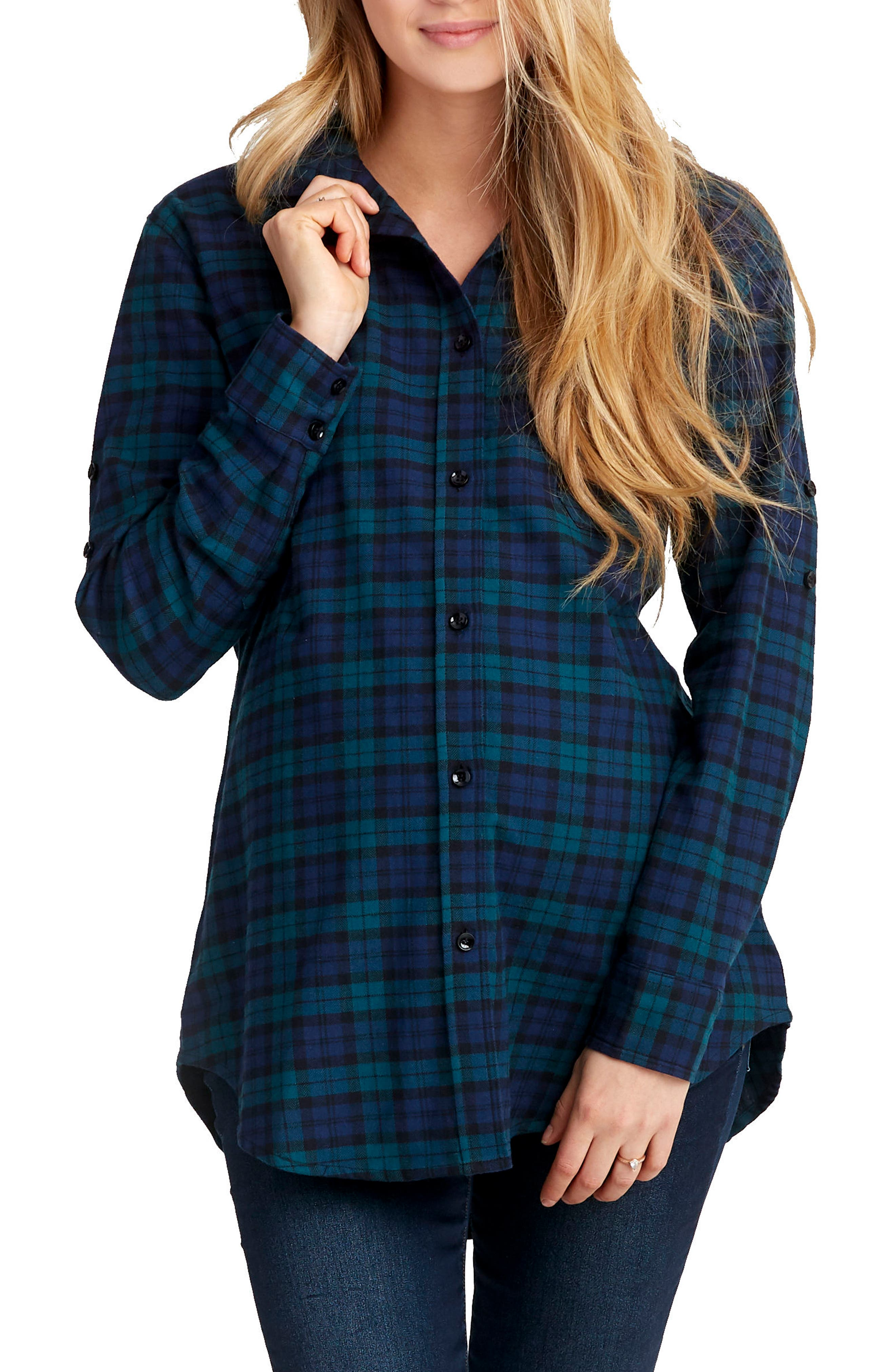 Sadie Maternity/Nursing Shirt,                         Main,                         color, BLUE GREEN PLAID