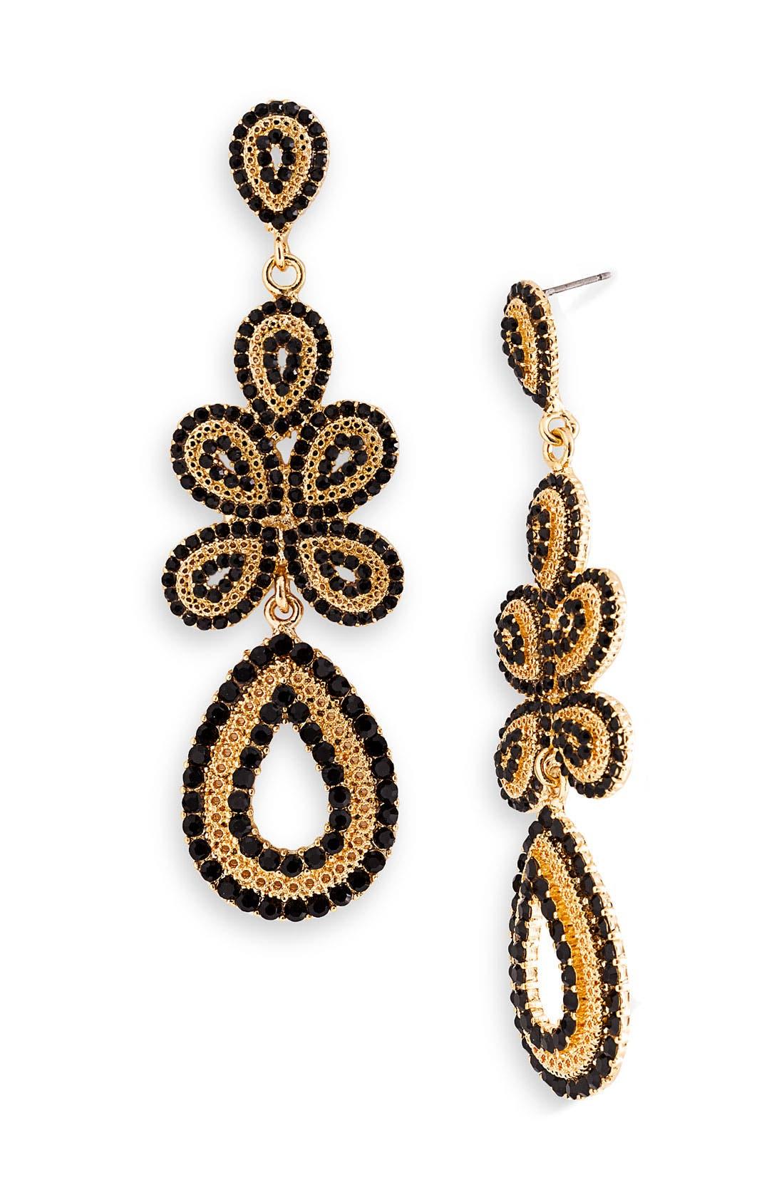 'Ornate' Linear Statement Earrings,                             Main thumbnail 1, color,                             001
