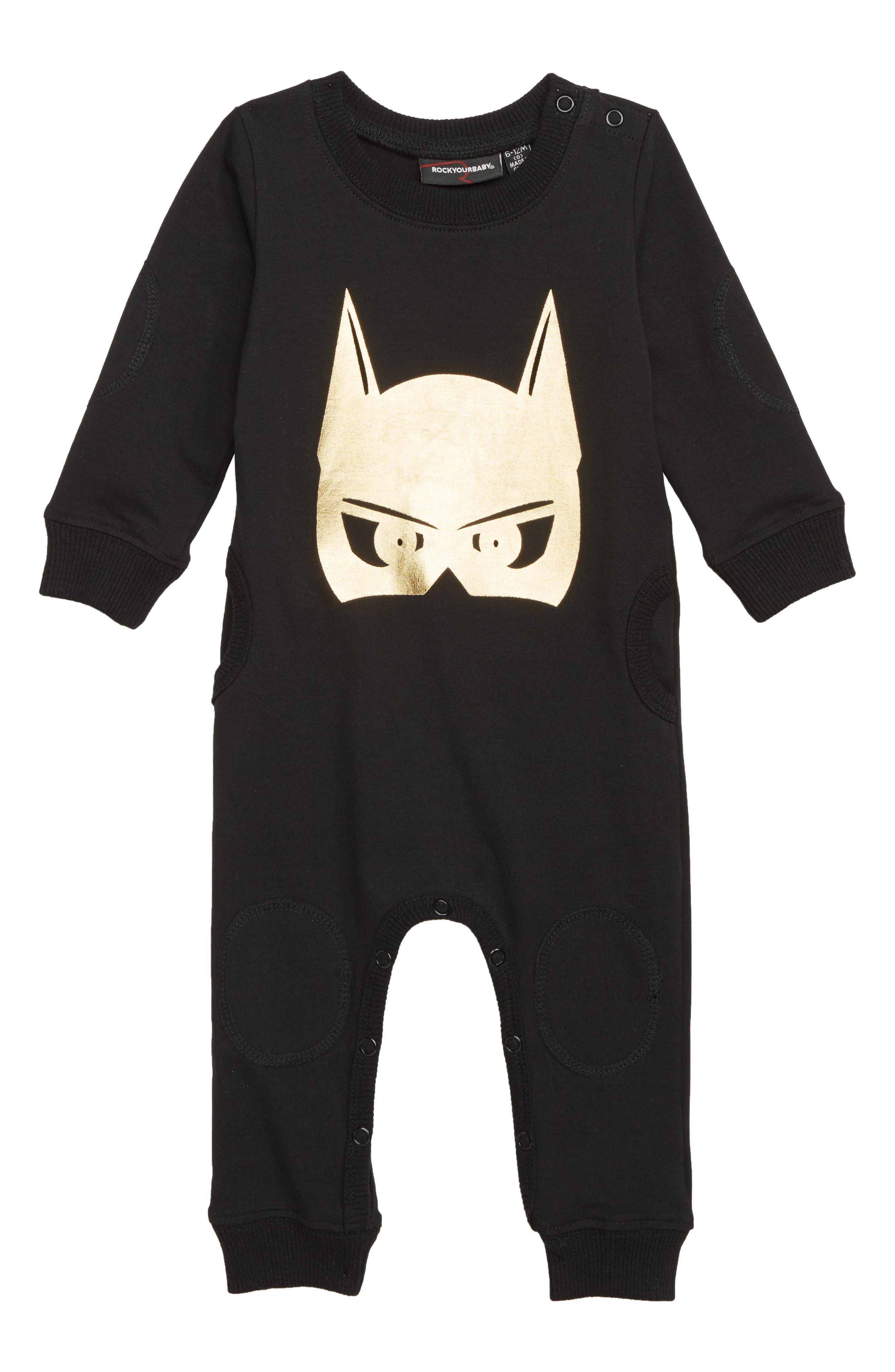 Infant Boys Rock Your Baby Batman Caped Crusader Romper Size 1218M  Black