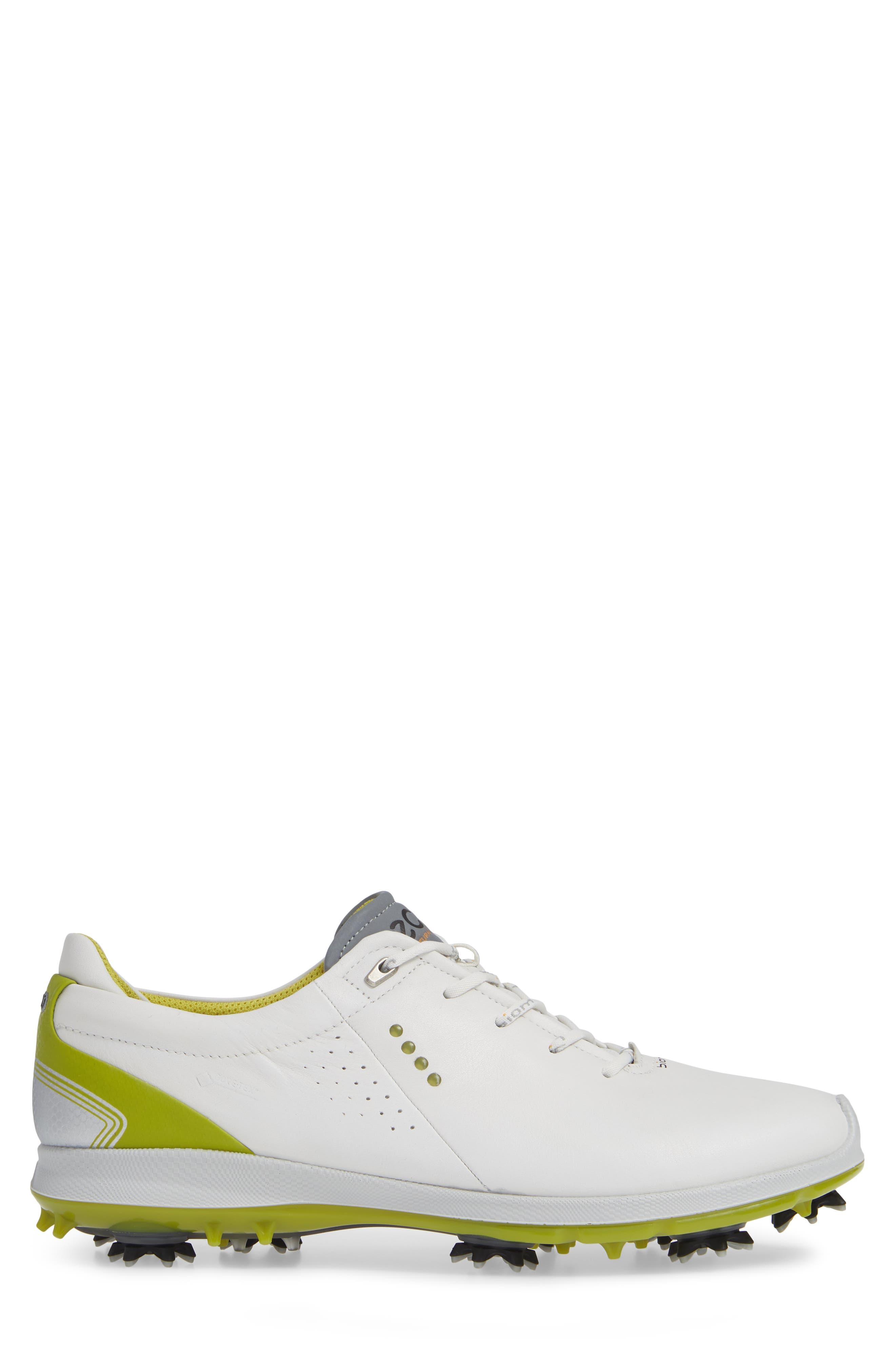 BIOM G 2 Free Gore-Tex<sup>®</sup> Golf Shoe,                             Alternate thumbnail 3, color,                             WHITE/ KIWI LEATHER