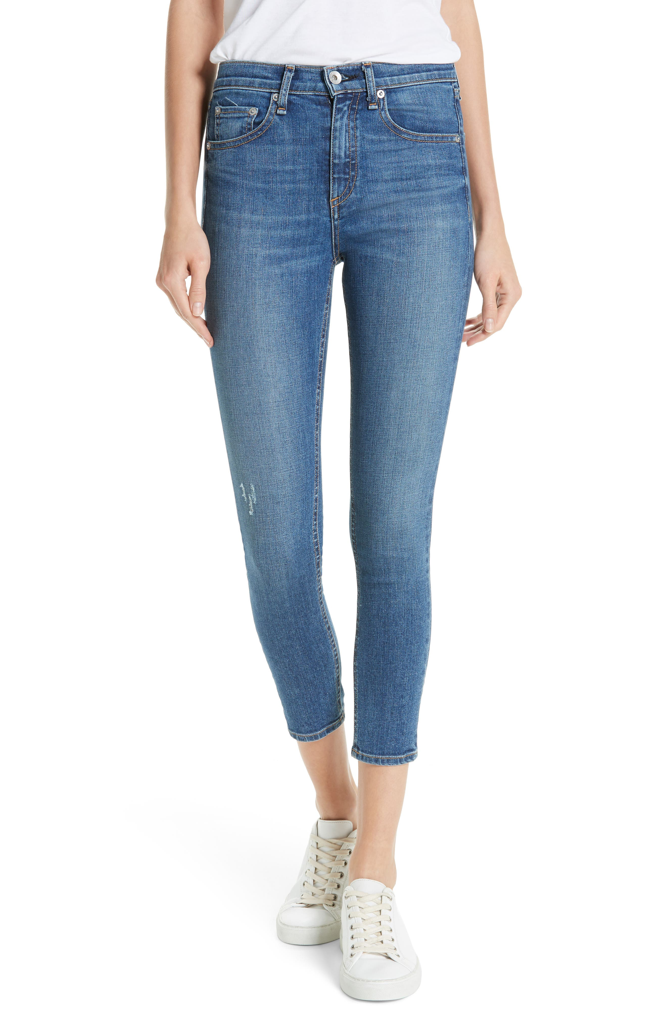 High Waist Ankle Skinny Jeans,                             Main thumbnail 1, color,                             EL