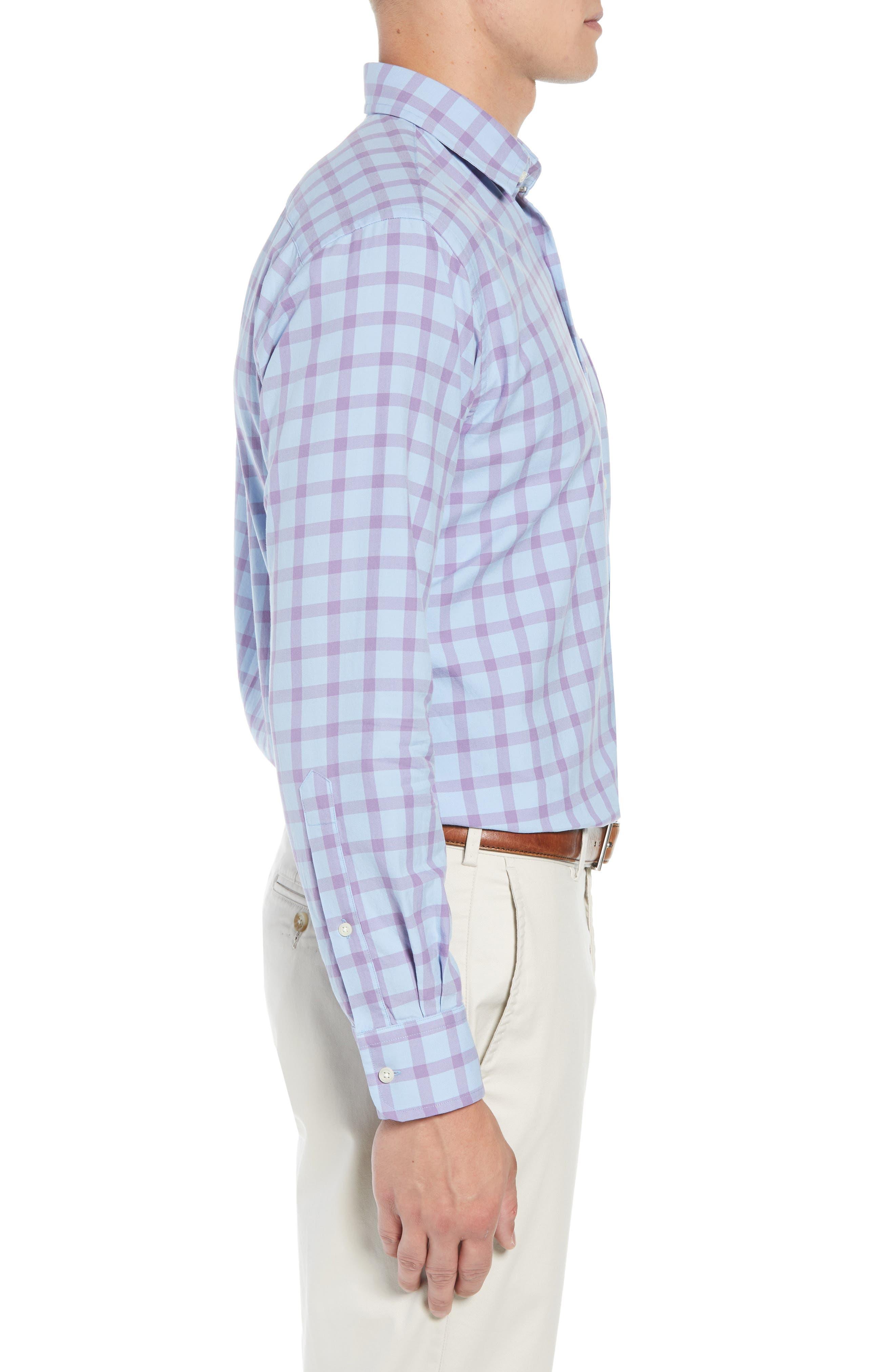 Castin Regular Fit Tattersall Check Sport Shirt,                             Alternate thumbnail 4, color,                             BLUE