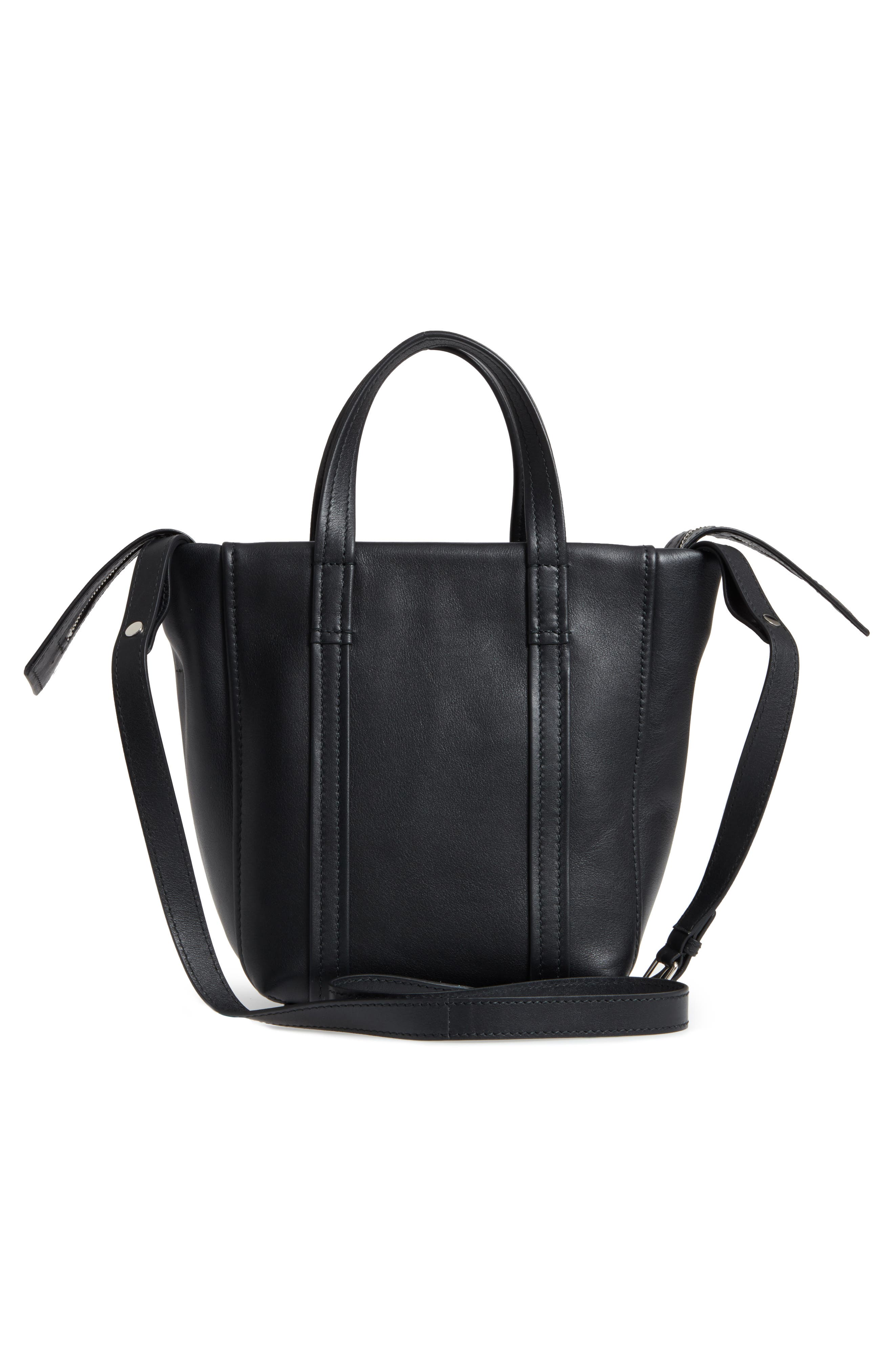 Extra Small Laundry Cabas Calfskin Tote,                             Alternate thumbnail 3, color,                             NOIR