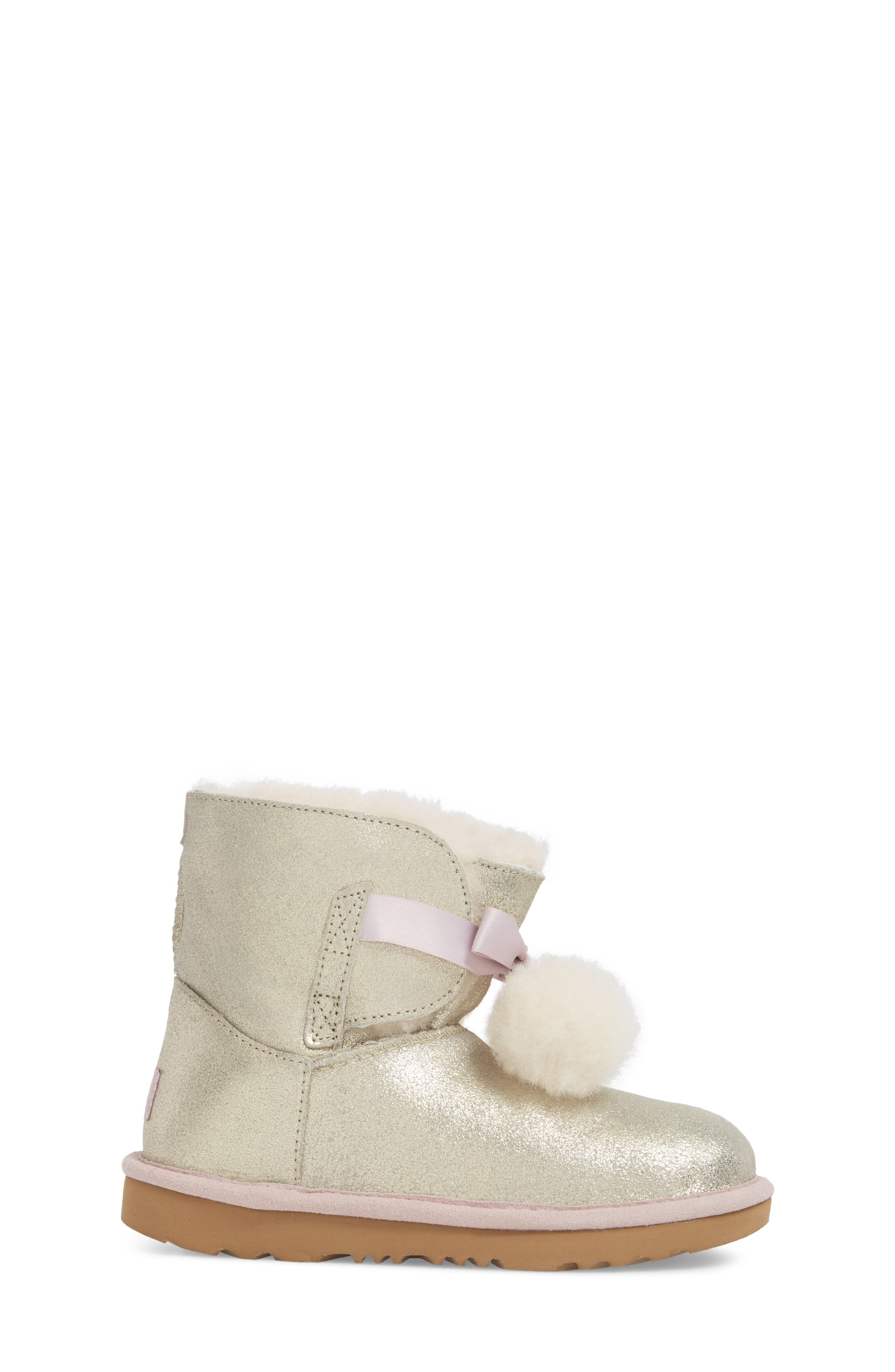 Gita Metallic Genuine Shearling Pom Boot,                             Alternate thumbnail 3, color,                             GOLD