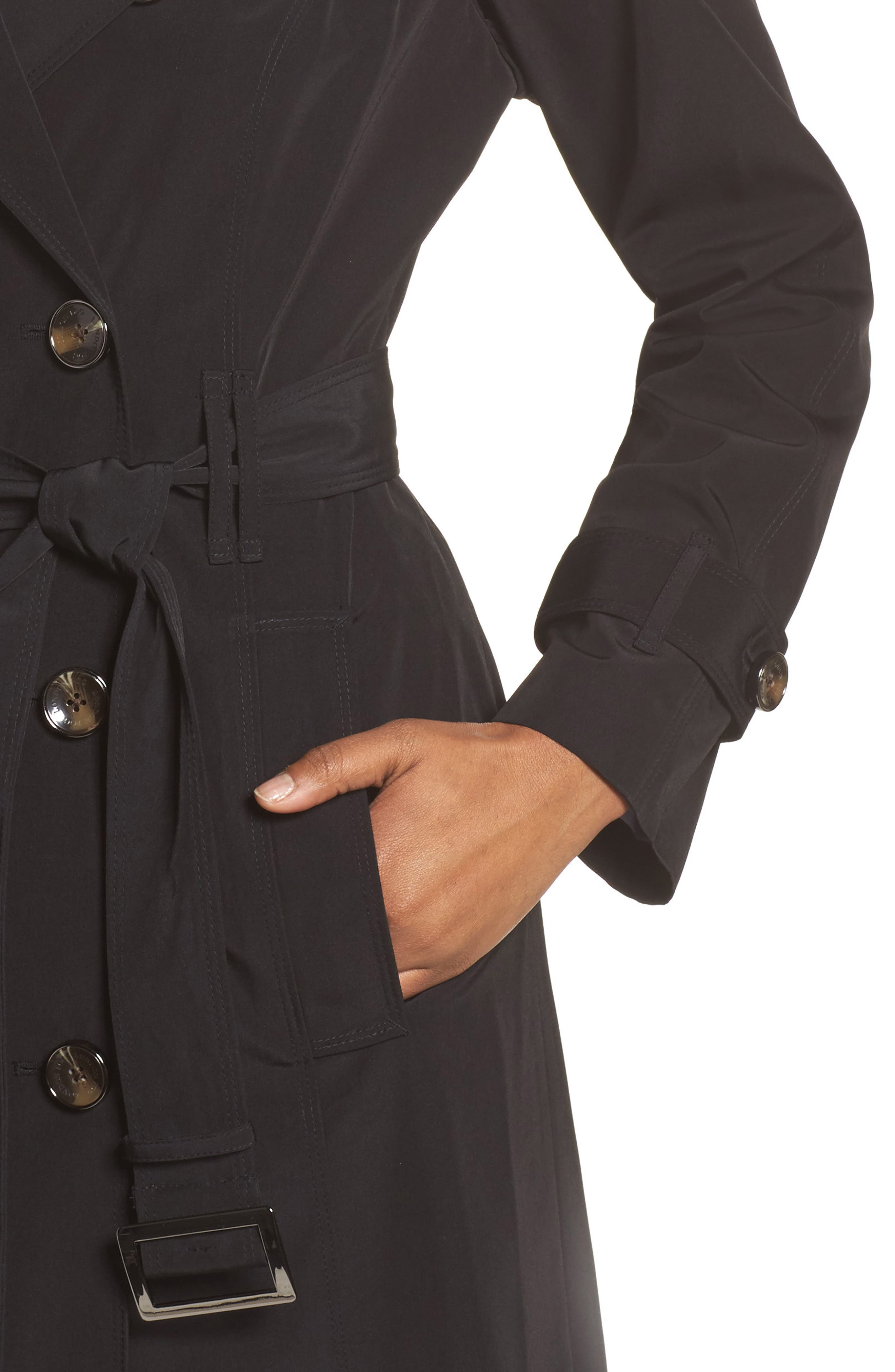 Long Double Breasted Trench Coat,                             Alternate thumbnail 4, color,                             BLACK