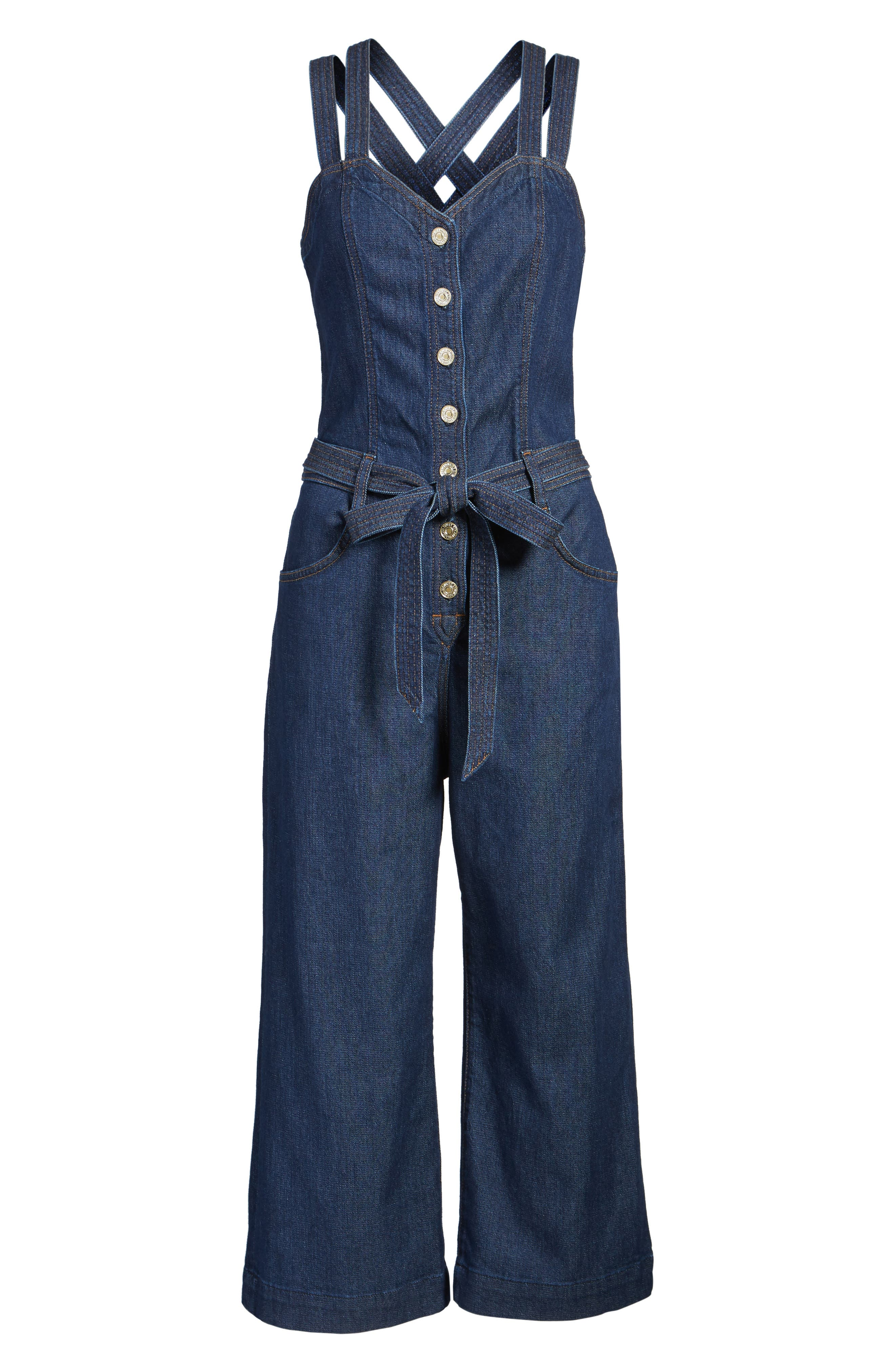 Denim Jumpsuit,                             Alternate thumbnail 6, color,                             400