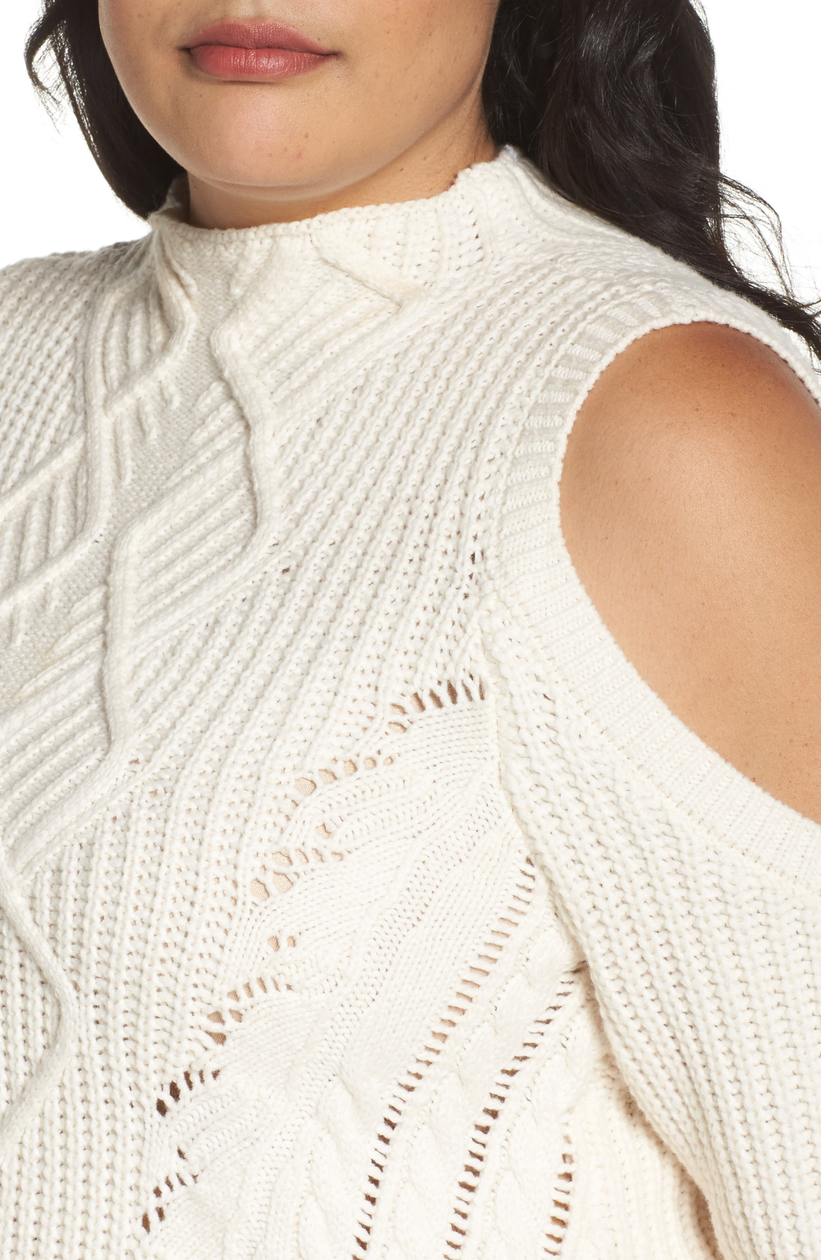 Cold Shoulder Cable Sweater,                             Alternate thumbnail 12, color,