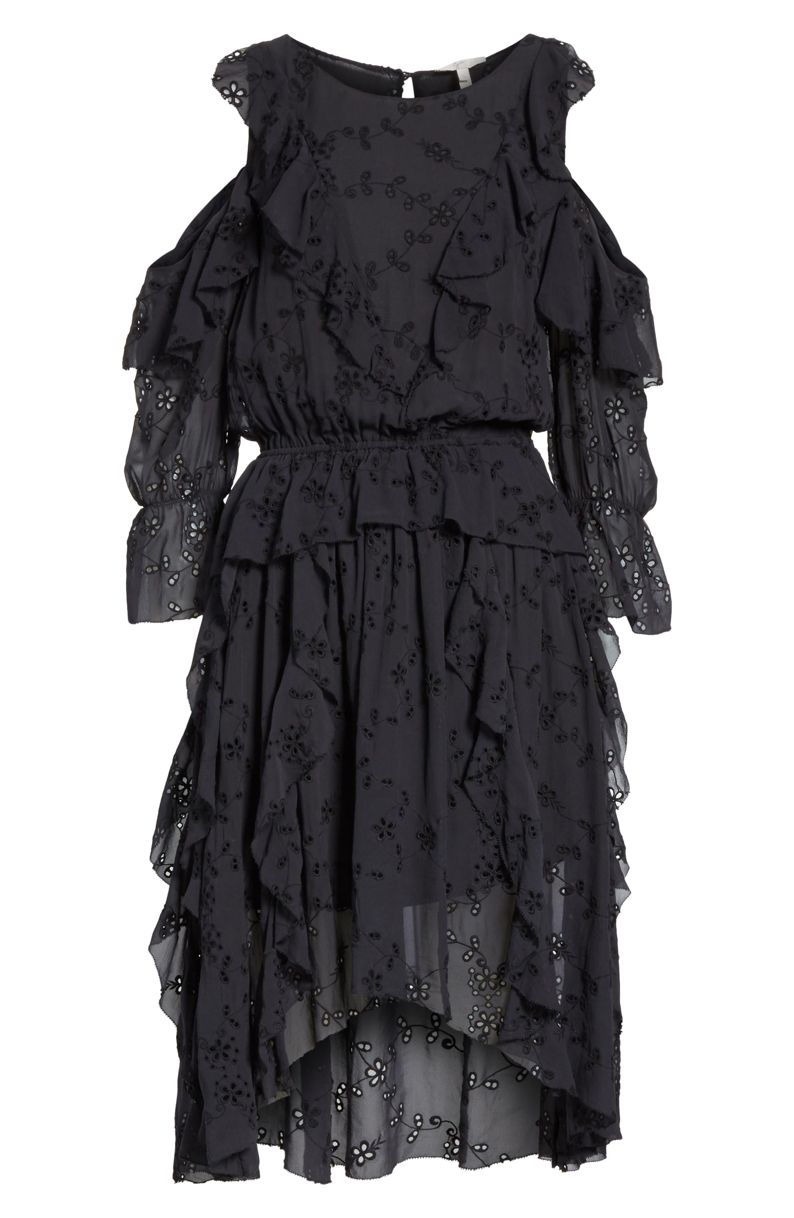 Alpheus Cold Shoulder Ruffled Silk Dress,                             Alternate thumbnail 6, color,                             008