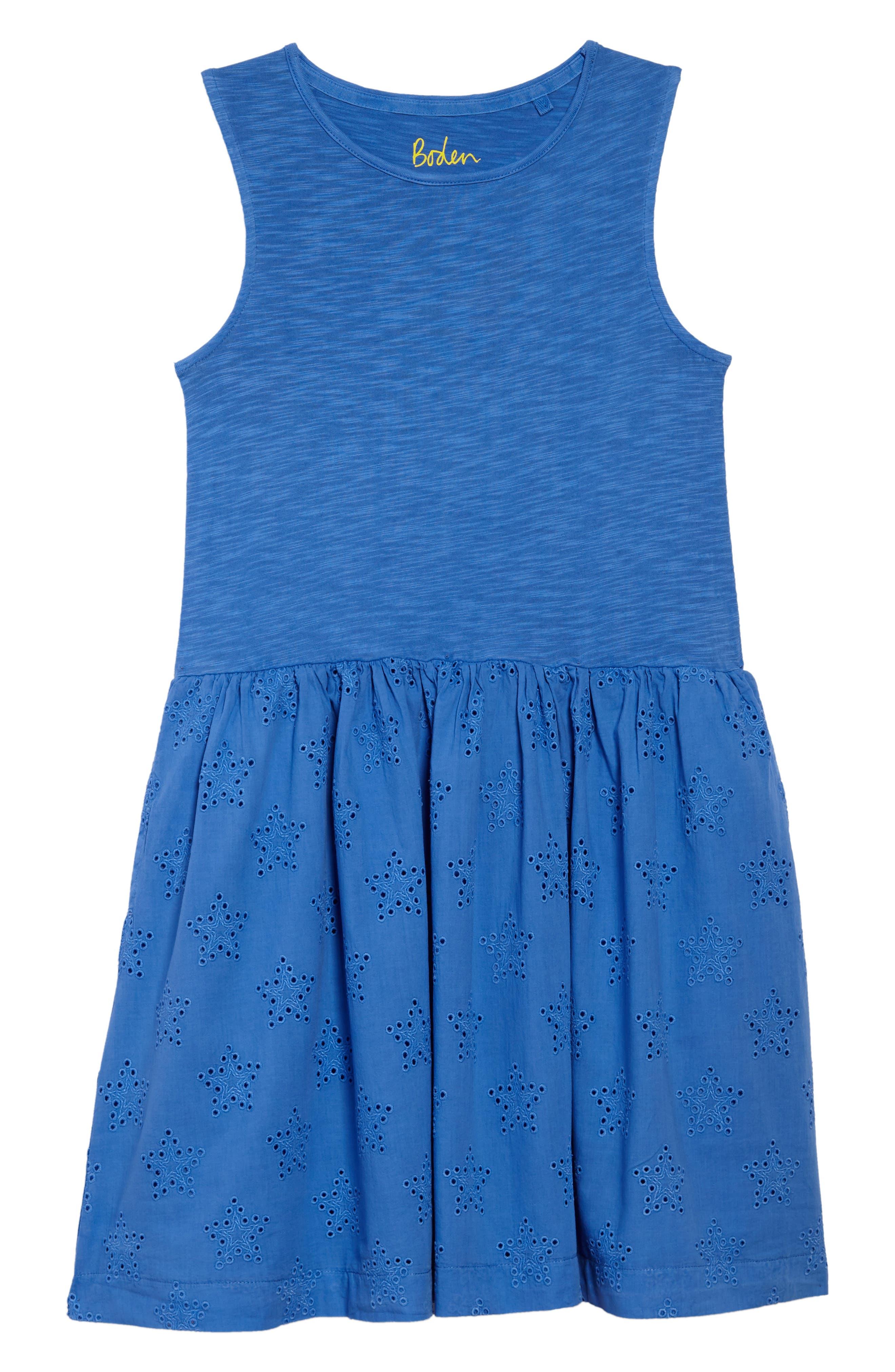 MINI BODEN Eyelet Dress, Main, color, 424