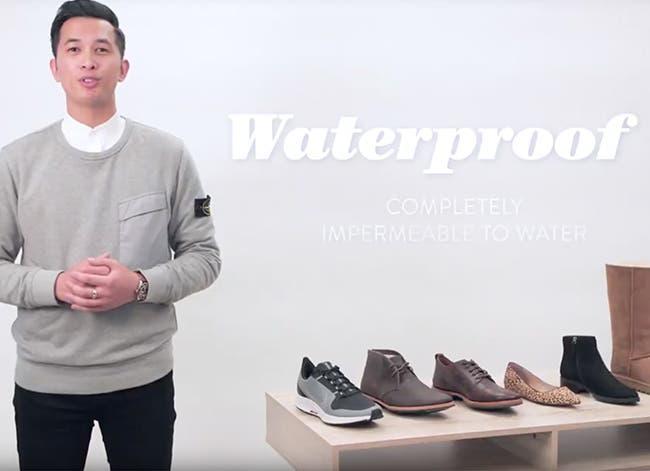 Water resistant vs. waterproof shoes.