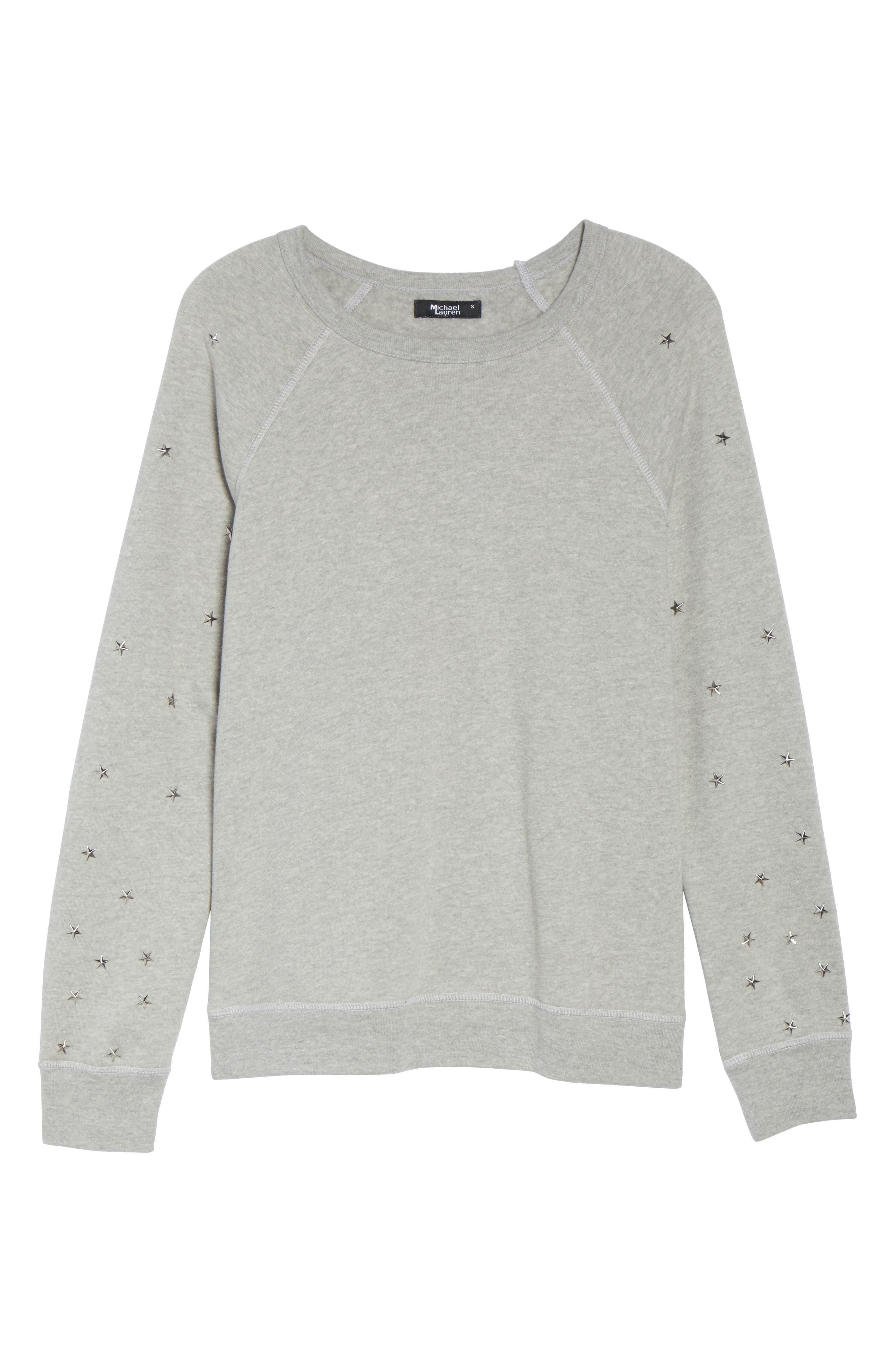Renzo Vintage Star Stud Sweatshirt,                             Alternate thumbnail 6, color,                             020