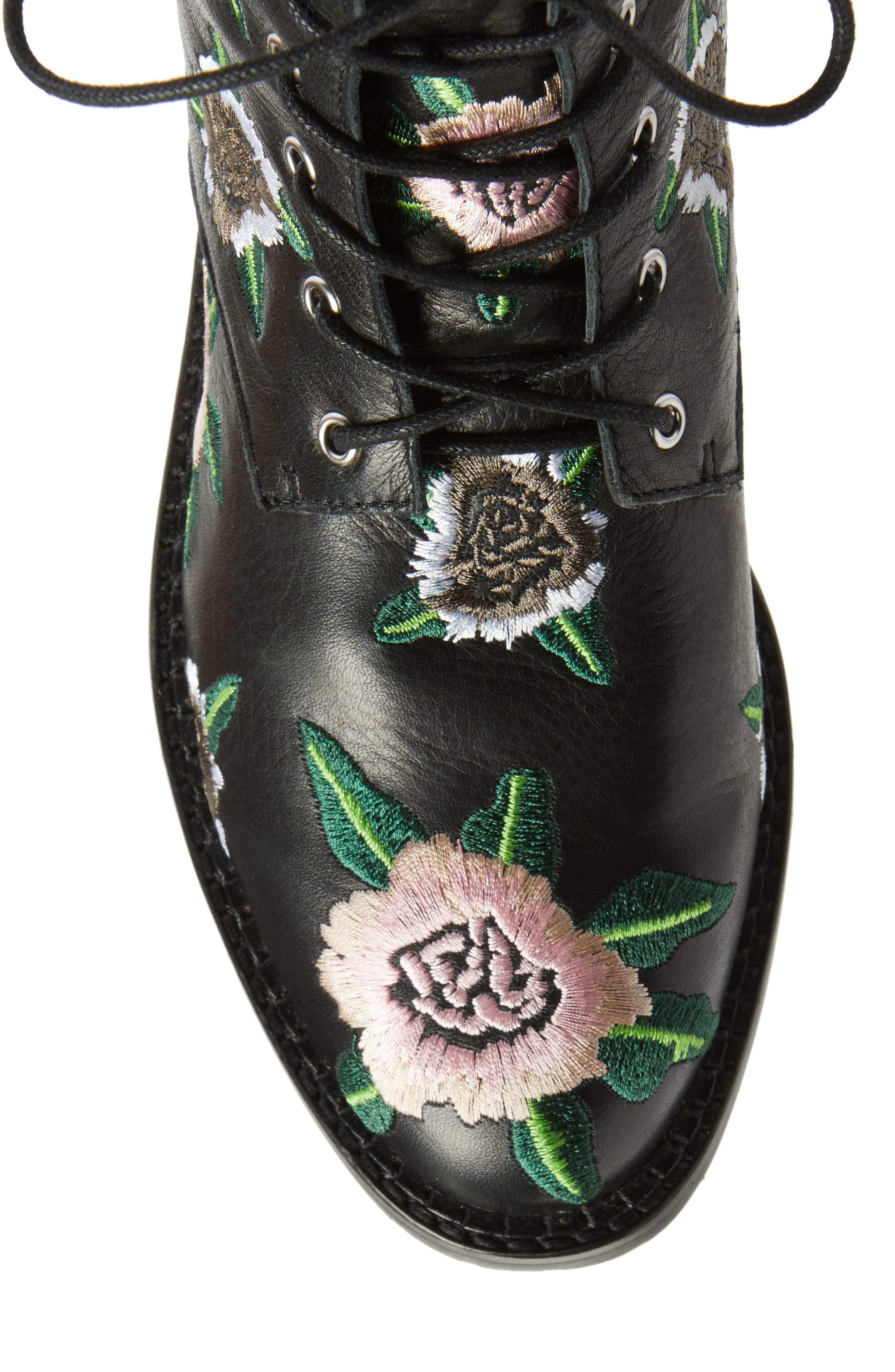 Gerry Embroidered Lace-Up Boot,                             Alternate thumbnail 5, color,                             001
