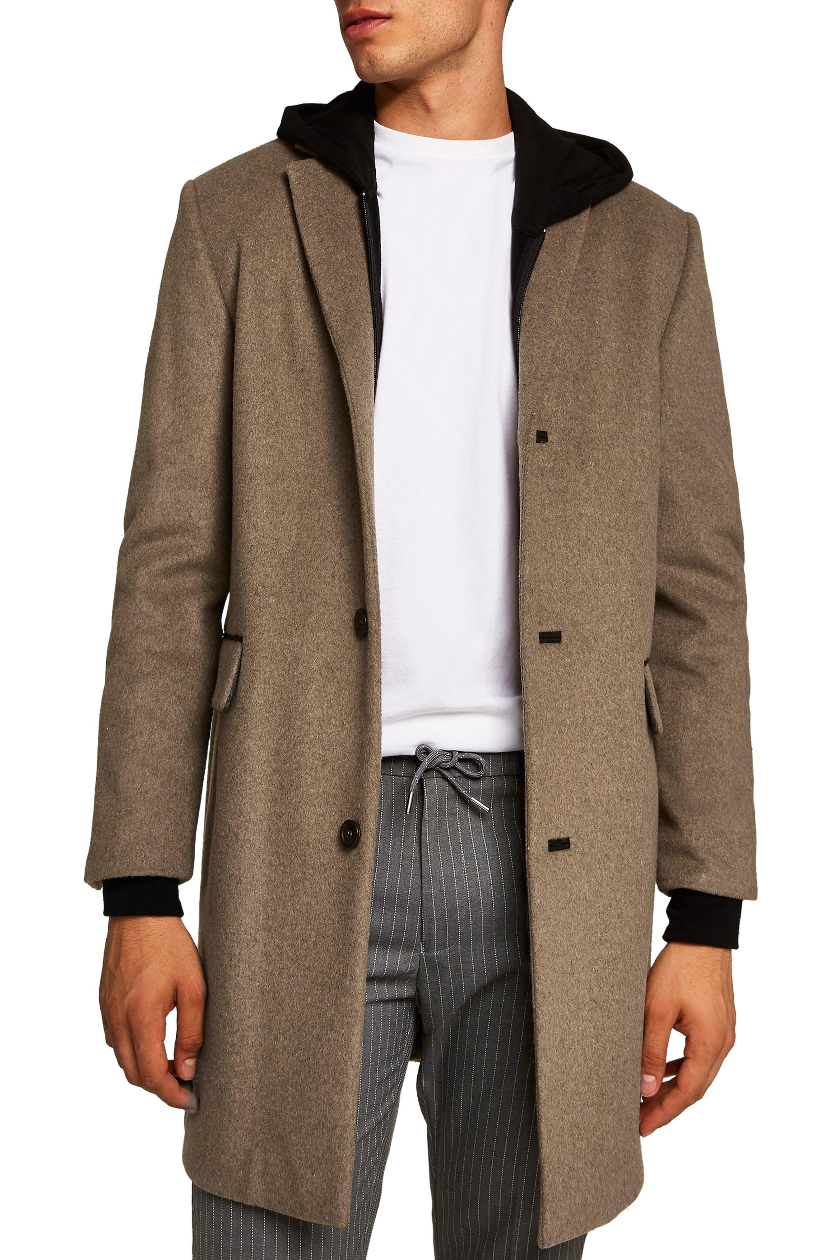 Wool Blend Overcoat,                             Main thumbnail 1, color,                             LIGHT BROWN