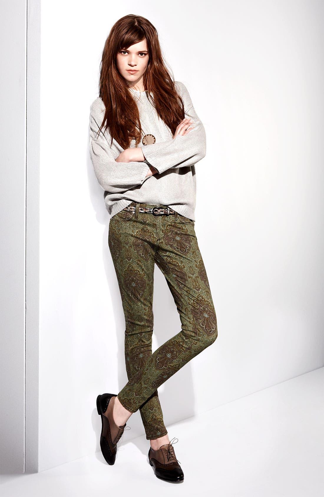Denim 'Verdugo' Print Skinny Jeans,                             Alternate thumbnail 5, color,                             300
