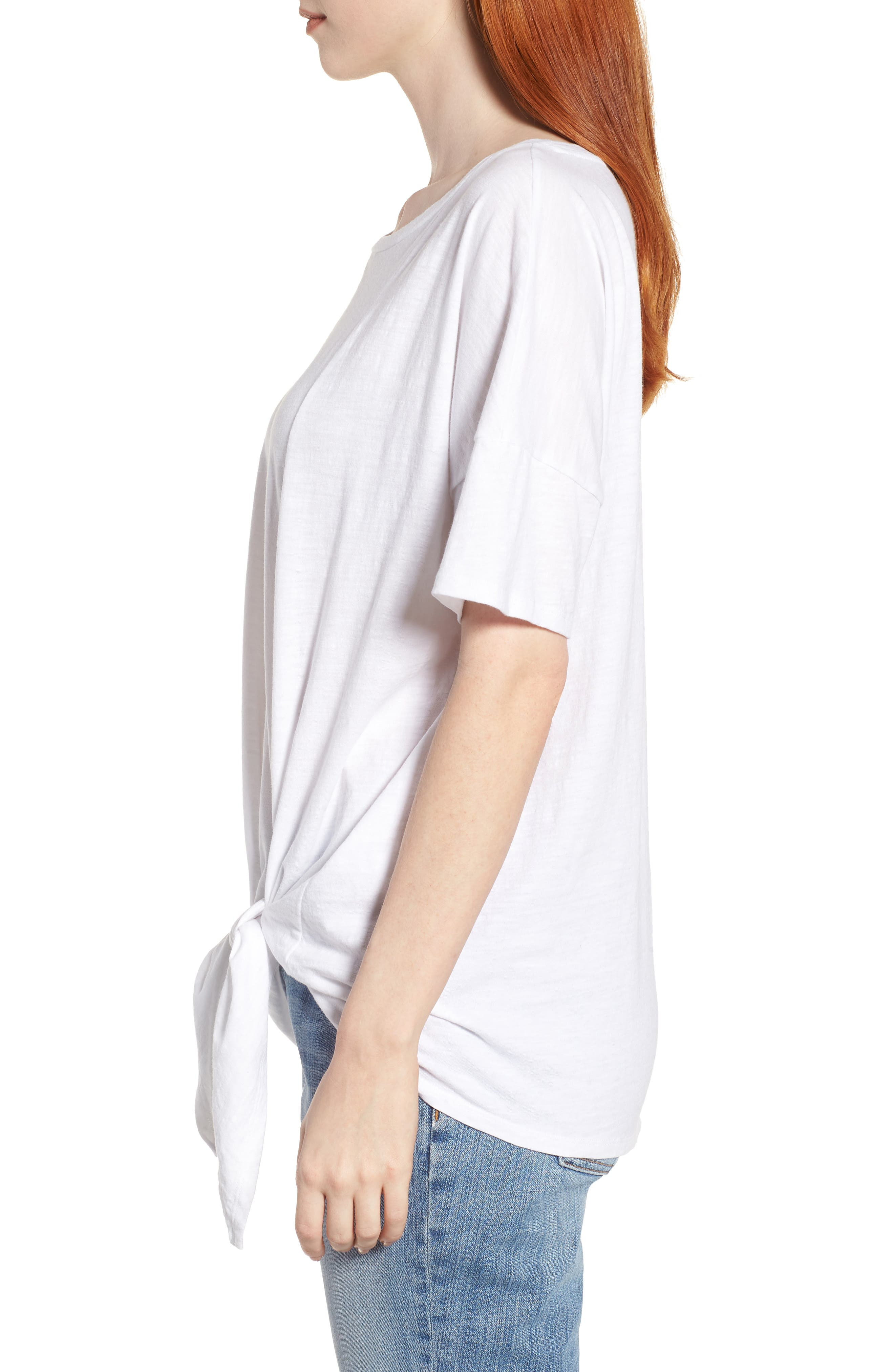 Tie Hem Organic Cotton Tee,                             Alternate thumbnail 13, color,