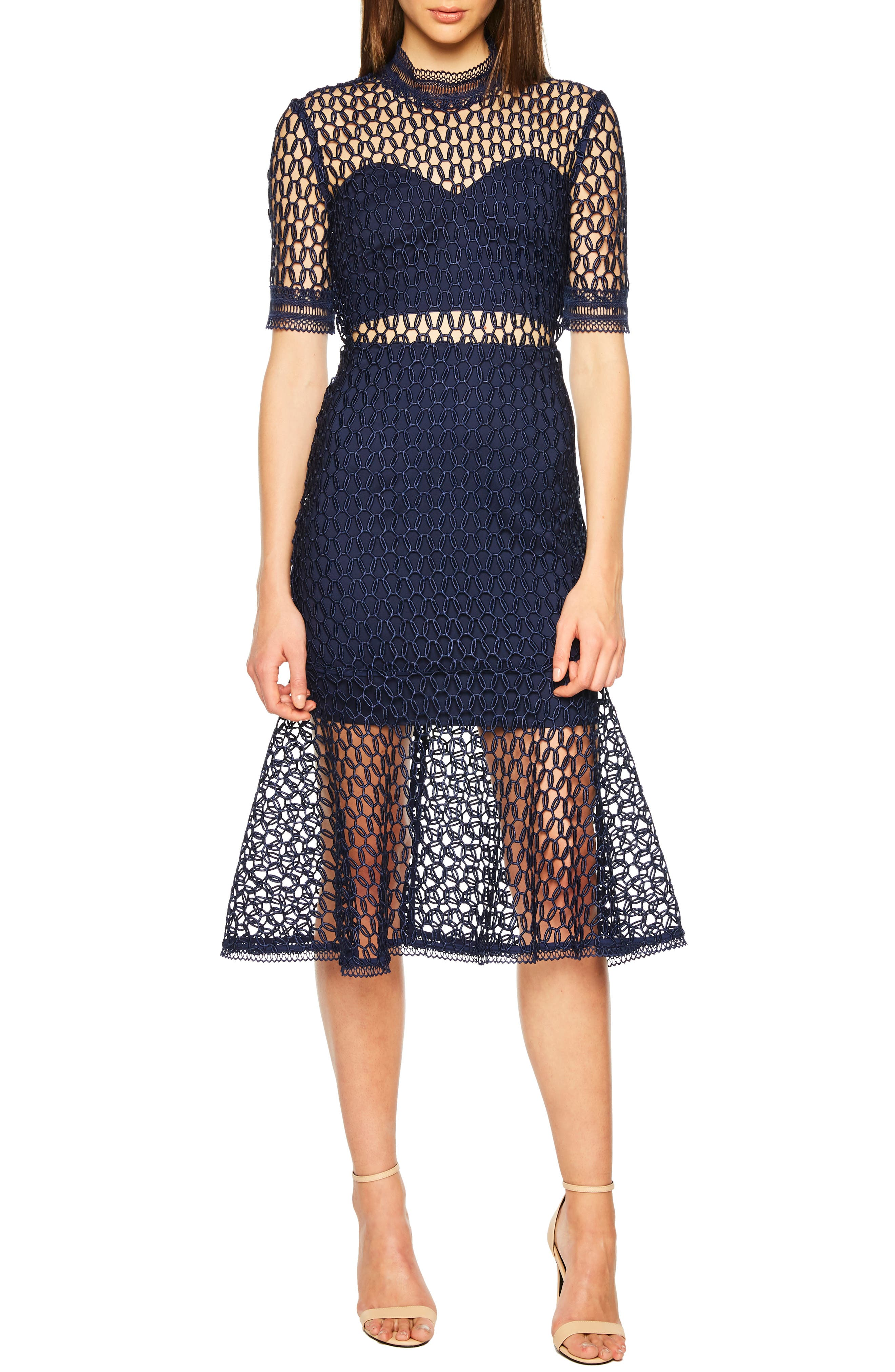 Fiona Mesh Lace Trumpet Dress,                             Main thumbnail 1, color,                             FRENCH NAVY