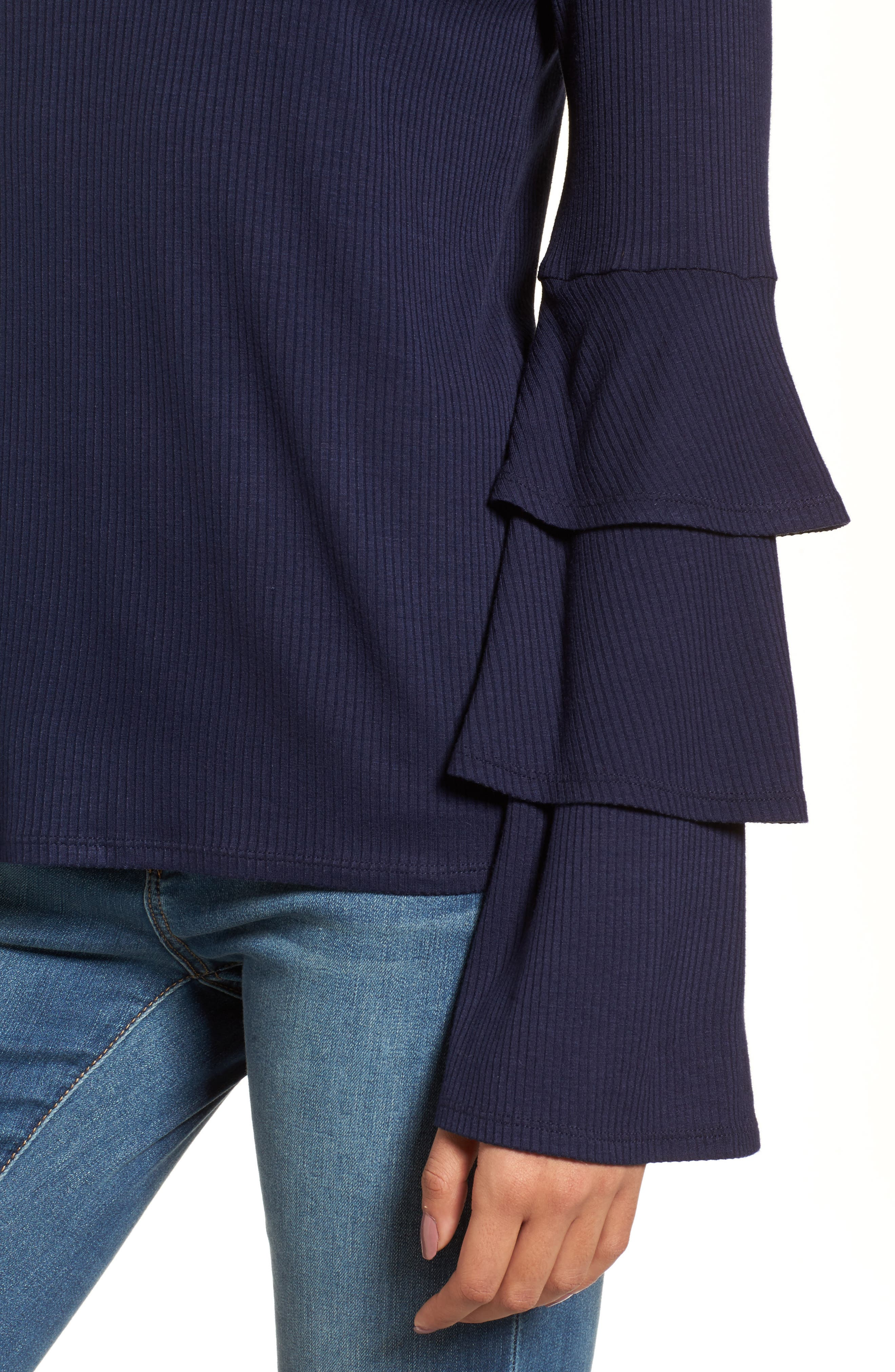Ruffle Sleeve Ribbed Sweater,                             Alternate thumbnail 14, color,