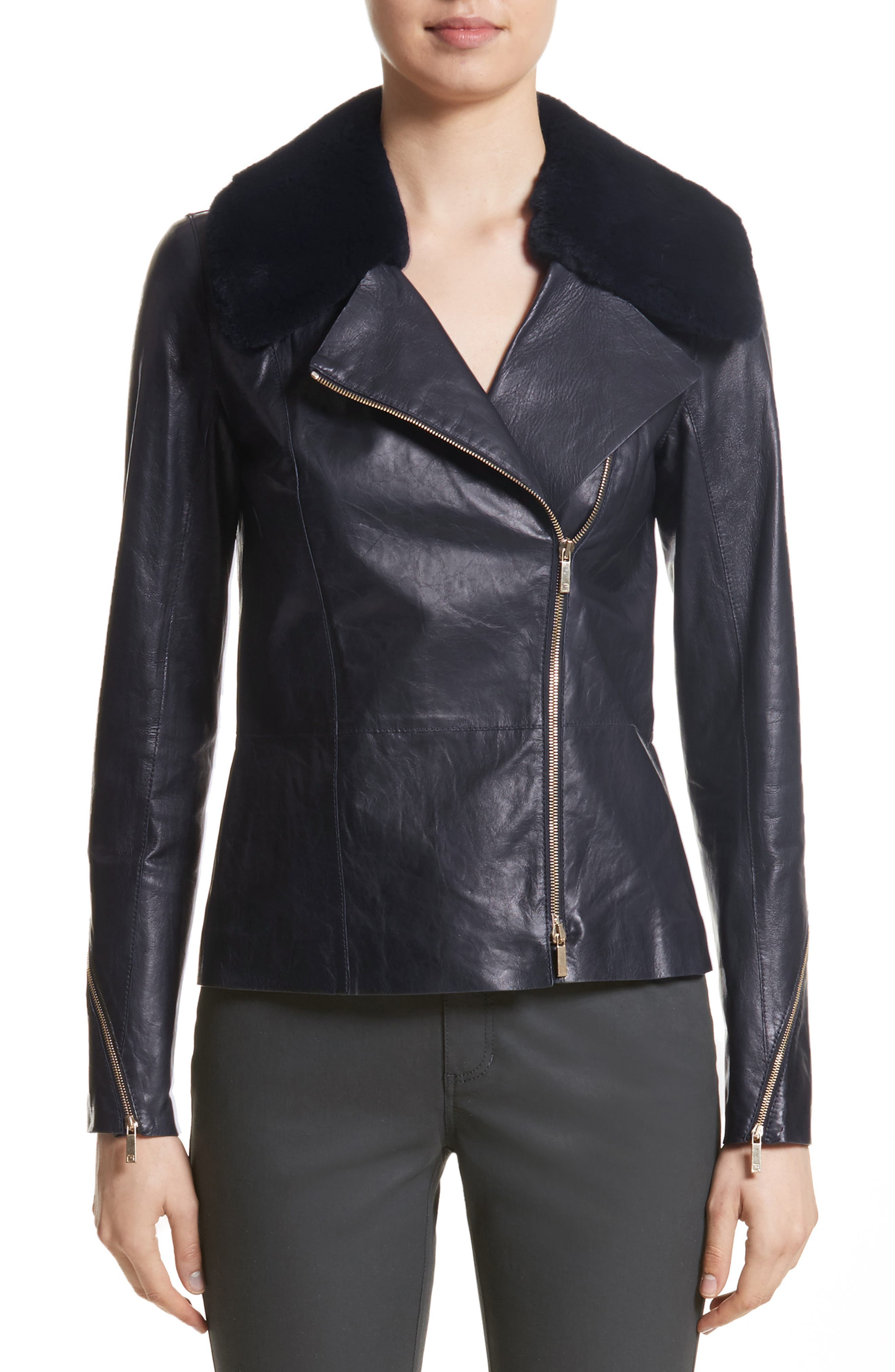 Kimbry Leather Jacket with Removable Genuine Rex Rabbit Fur Collar,                             Main thumbnail 1, color,                             479