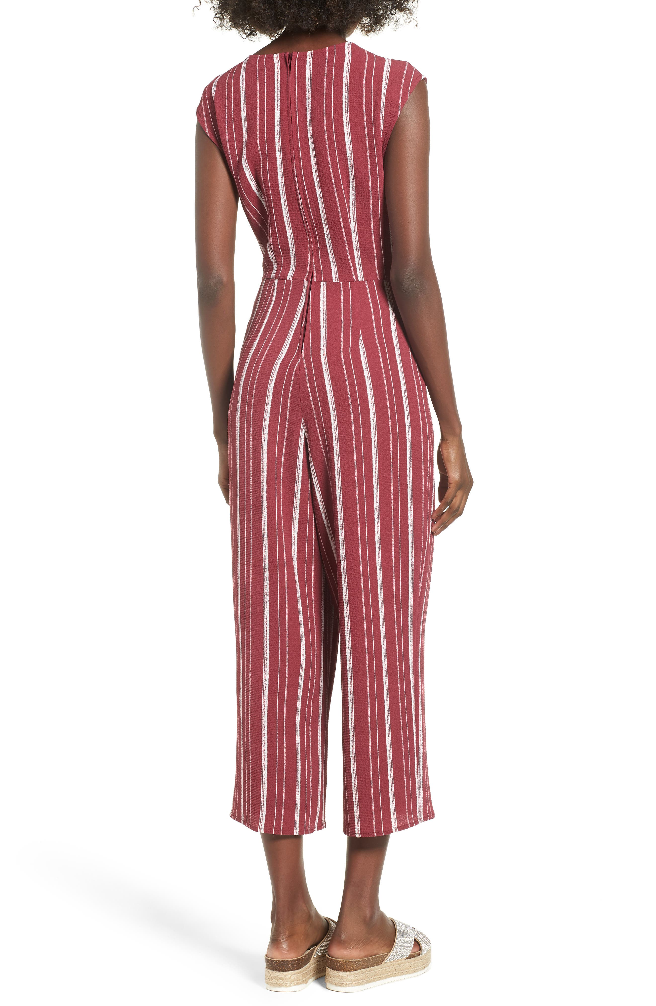 Stripe Jumpsuit,                             Alternate thumbnail 2, color,                             WINE