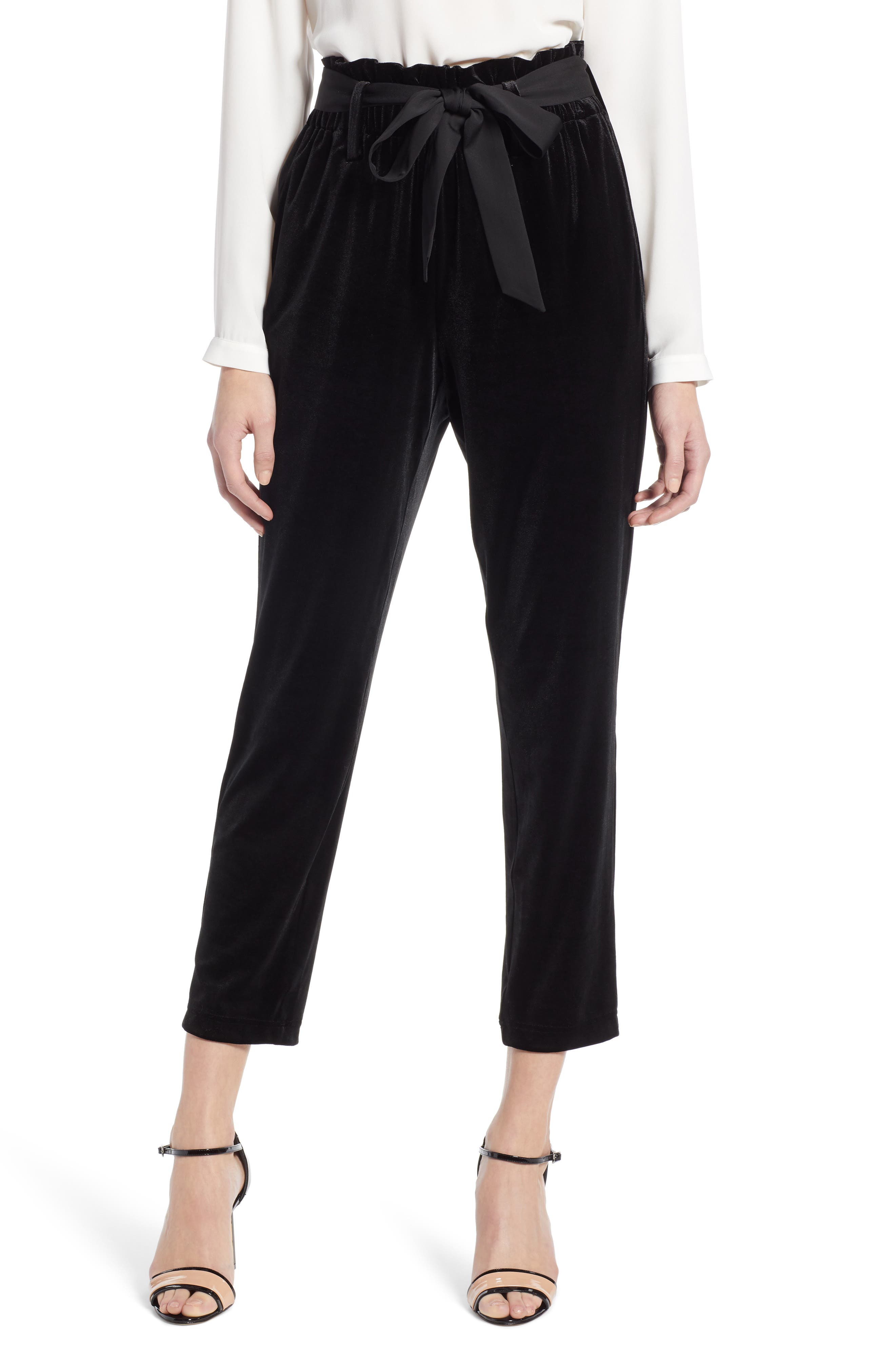 Tie Waist Velvet Pants,                             Main thumbnail 1, color,                             001