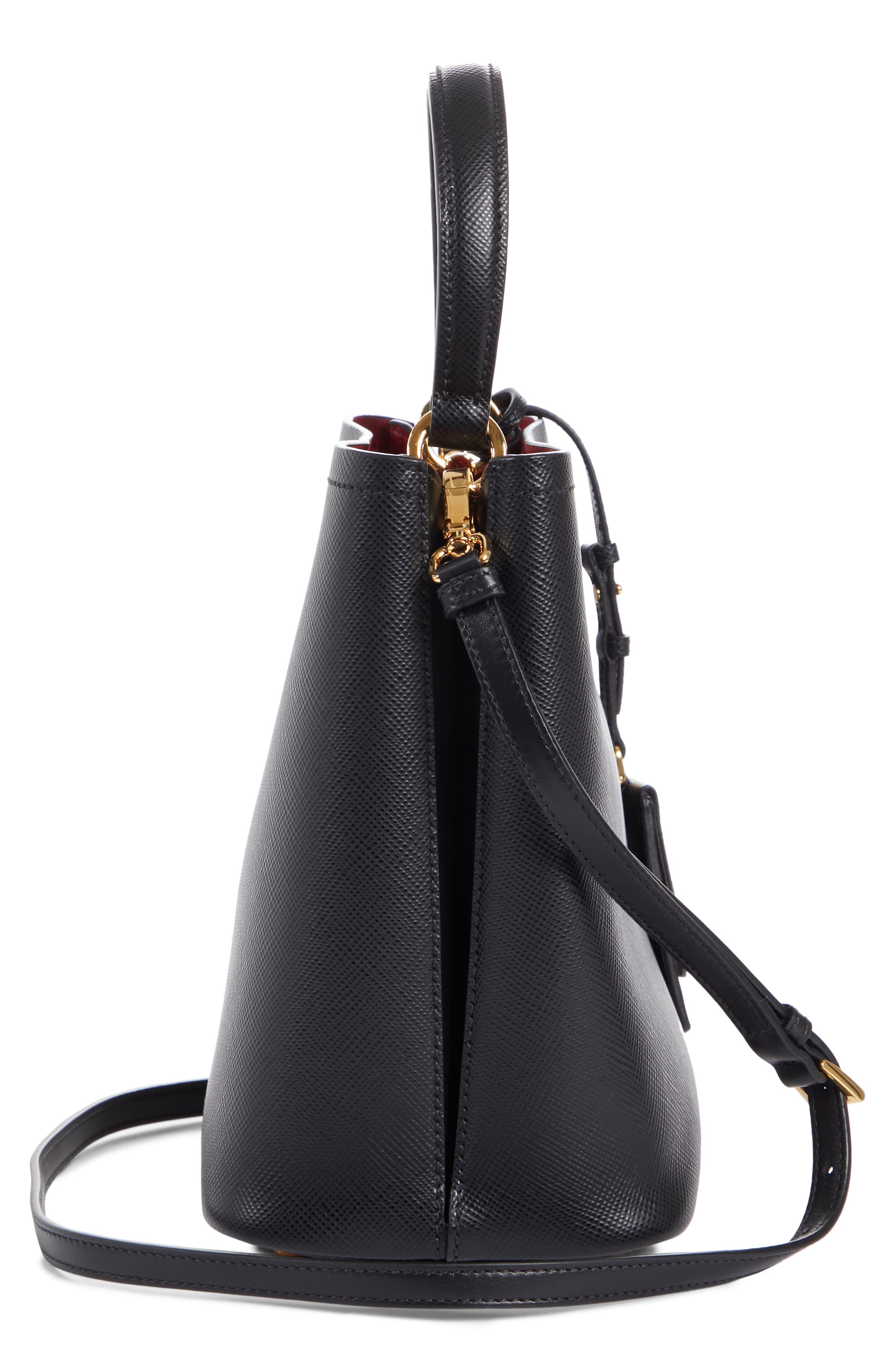 PRADA,                             Double Bucket Bag,                             Alternate thumbnail 6, color,                             NERO/ FUOCO