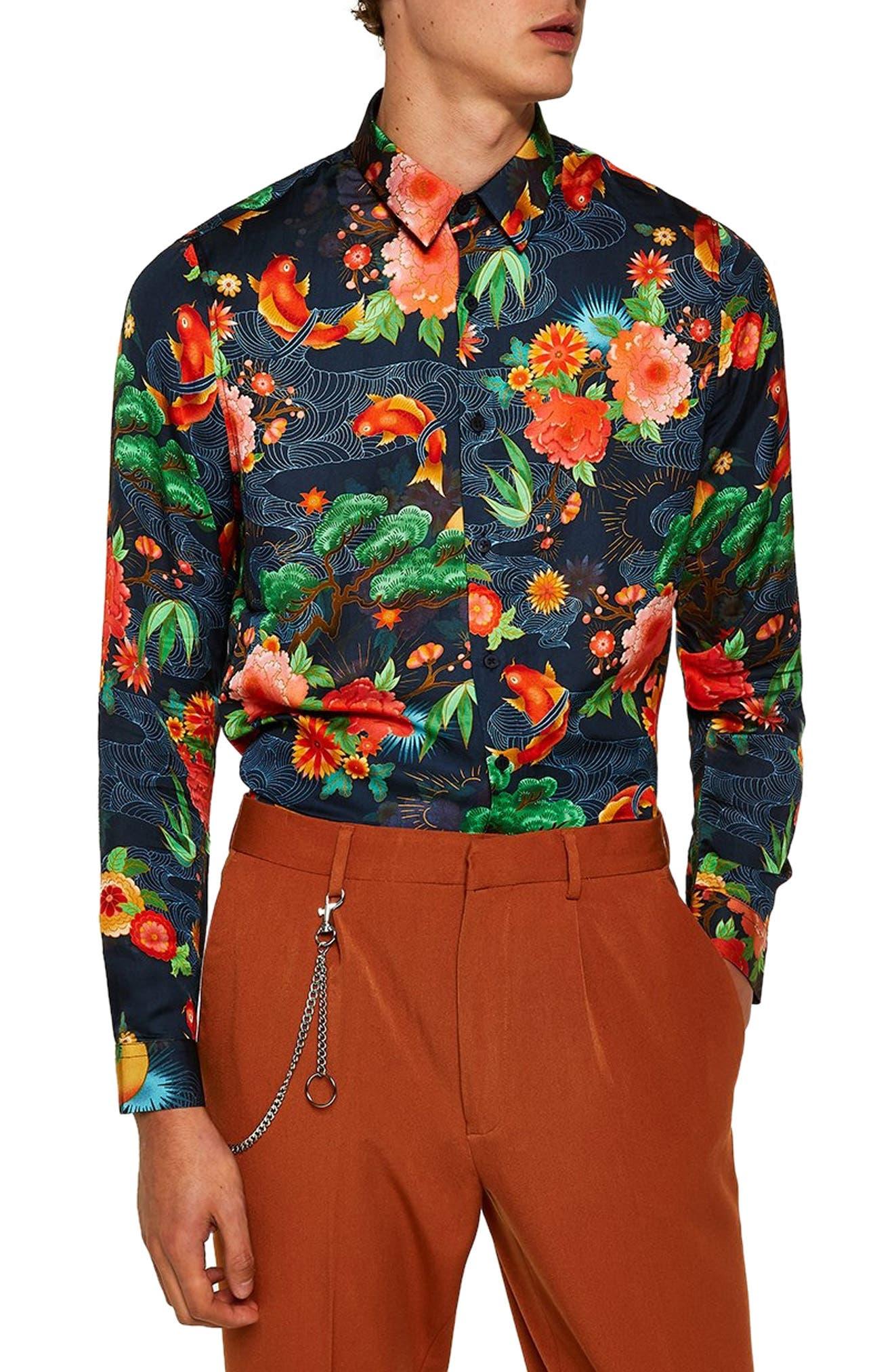 Classic Fit Floral Shirt,                         Main,                         color, BLUE