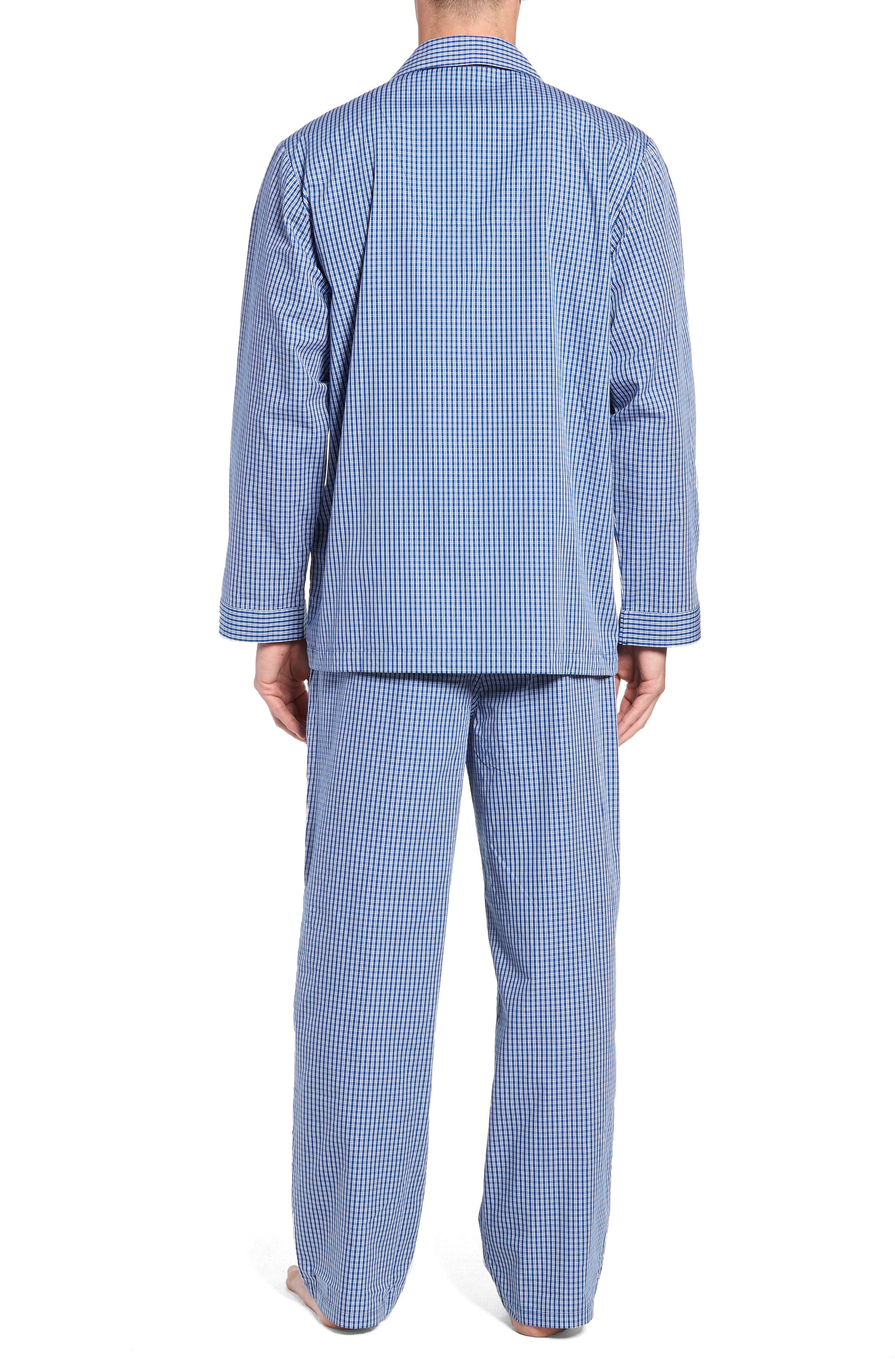 Poplin Pajama Set,                             Alternate thumbnail 2, color,                             BLUE DEEP MICRO CHECK
