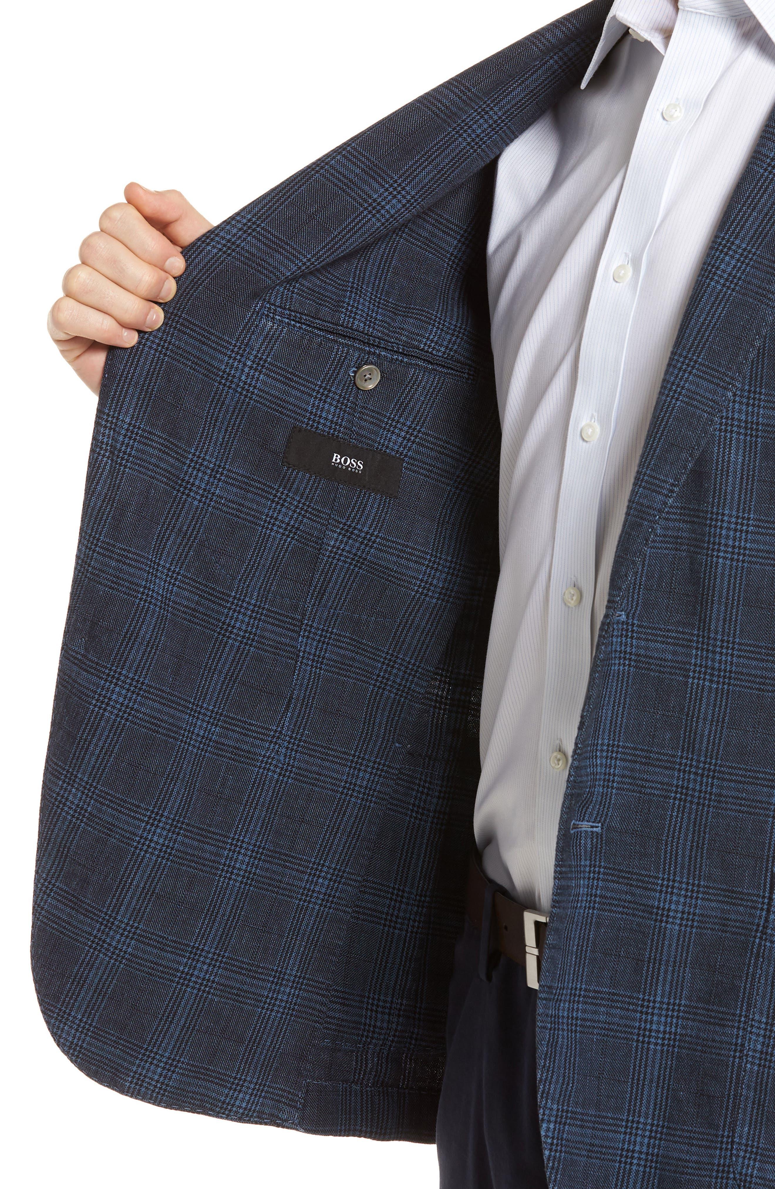 Hanry-D Trim Fit Plaid Linen & Cotton Sport Coat,                             Alternate thumbnail 4, color,                             BLUE