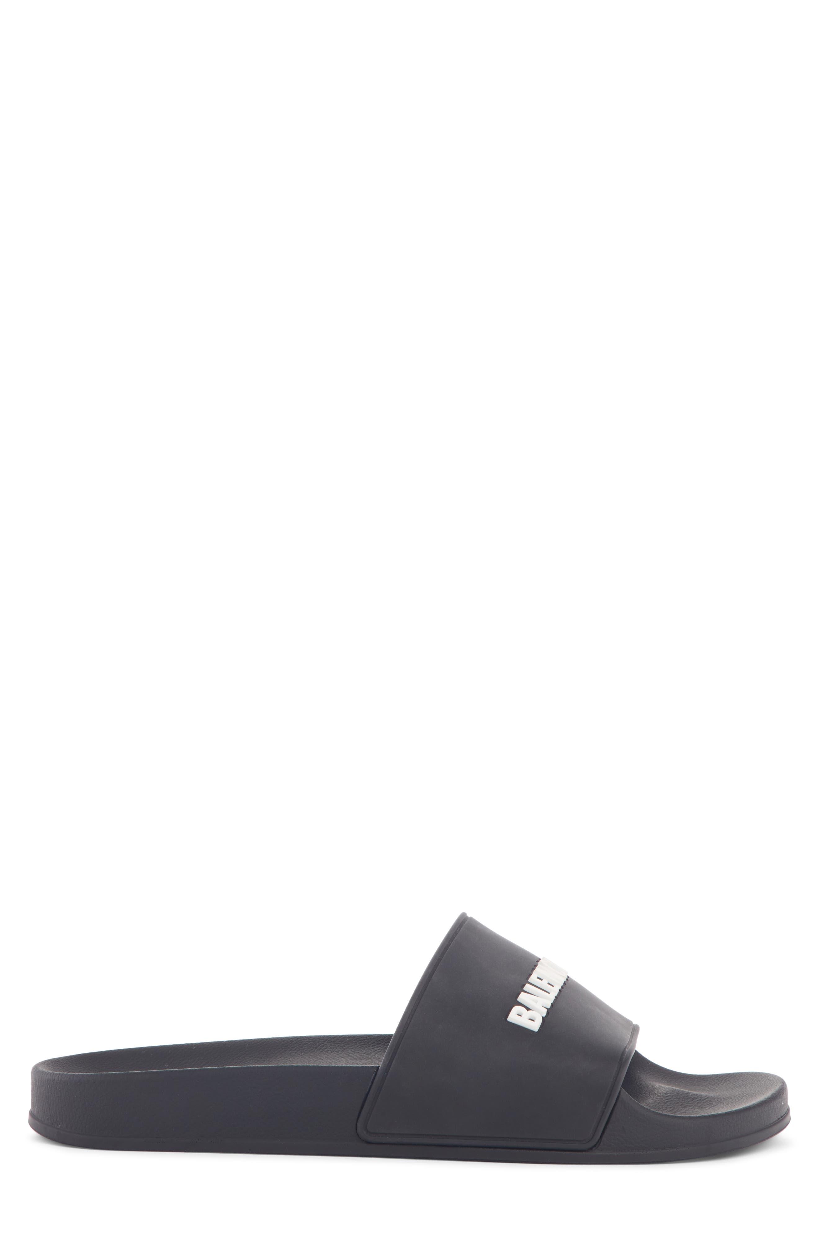 Logo Slide Sandal,                             Alternate thumbnail 3, color,                             BLACK/ WHITE