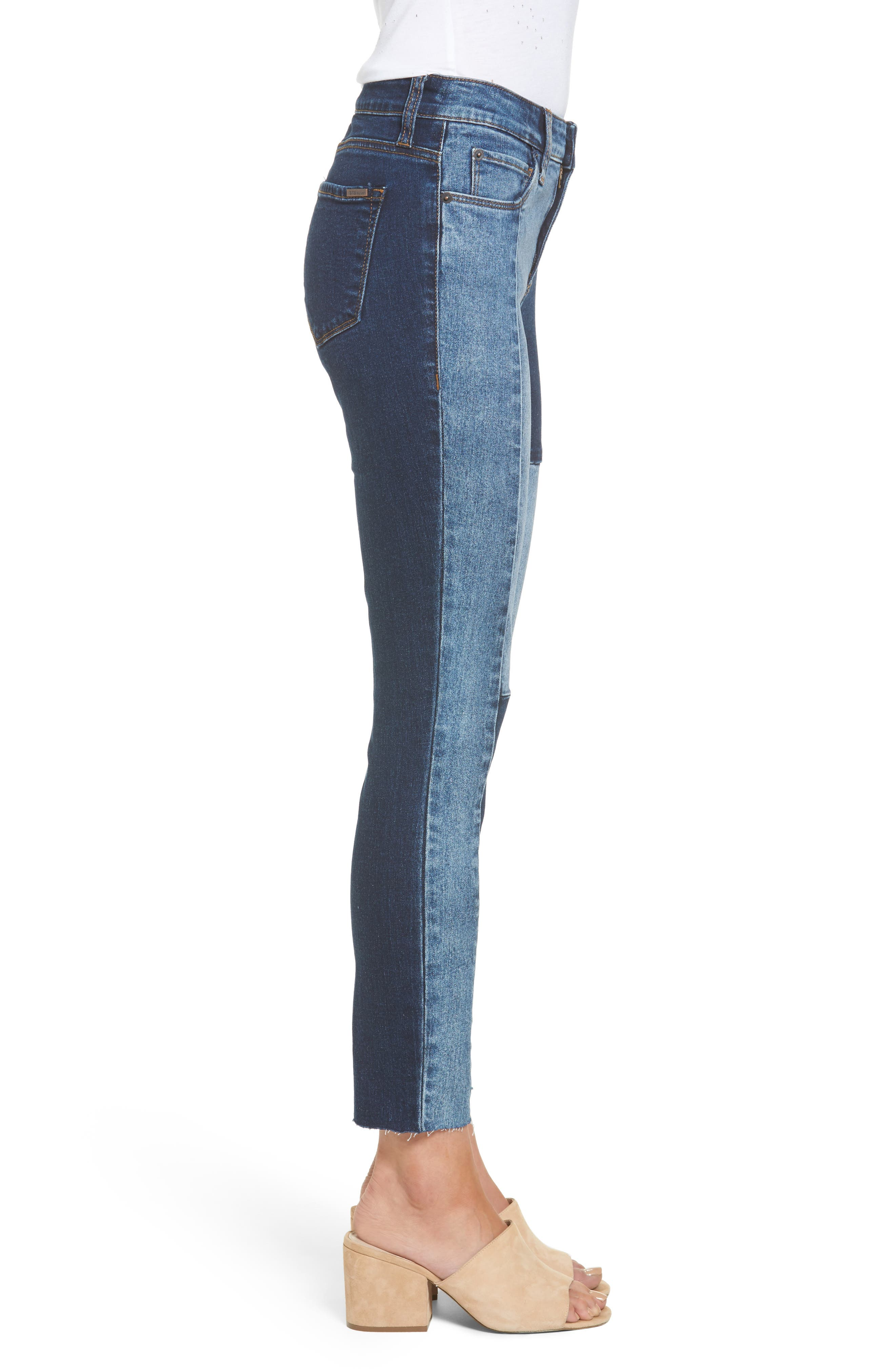 Piper Colorblock Ankle Skinny Jeans,                             Alternate thumbnail 3, color,                             400