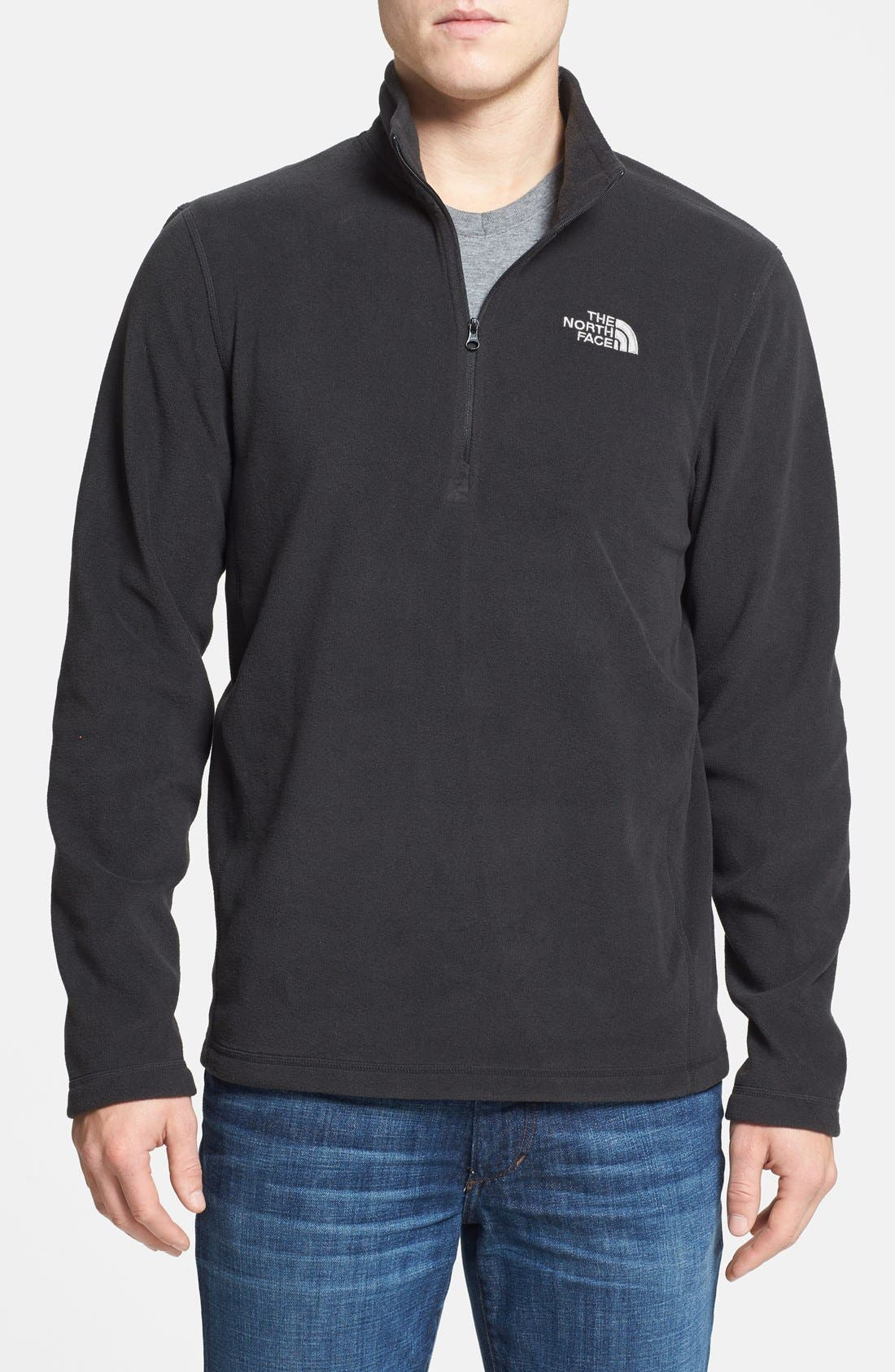 'TKA 100 Glacier' Quarter Zip Fleece Pullover,                         Main,                         color, TNF BLACK