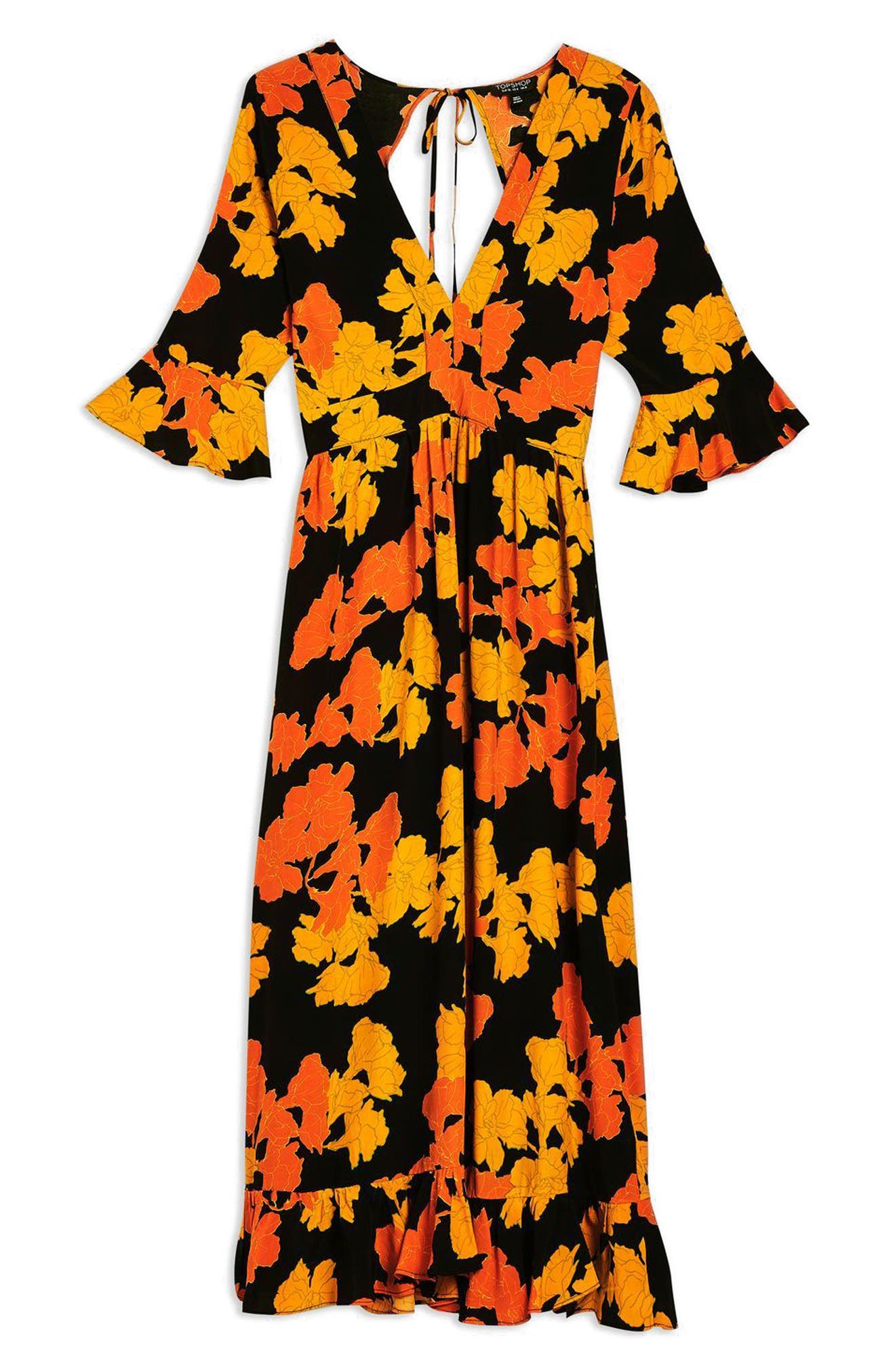 TOPSHOP,                             Bold Floral Midi Dress,                             Alternate thumbnail 6, color,                             001