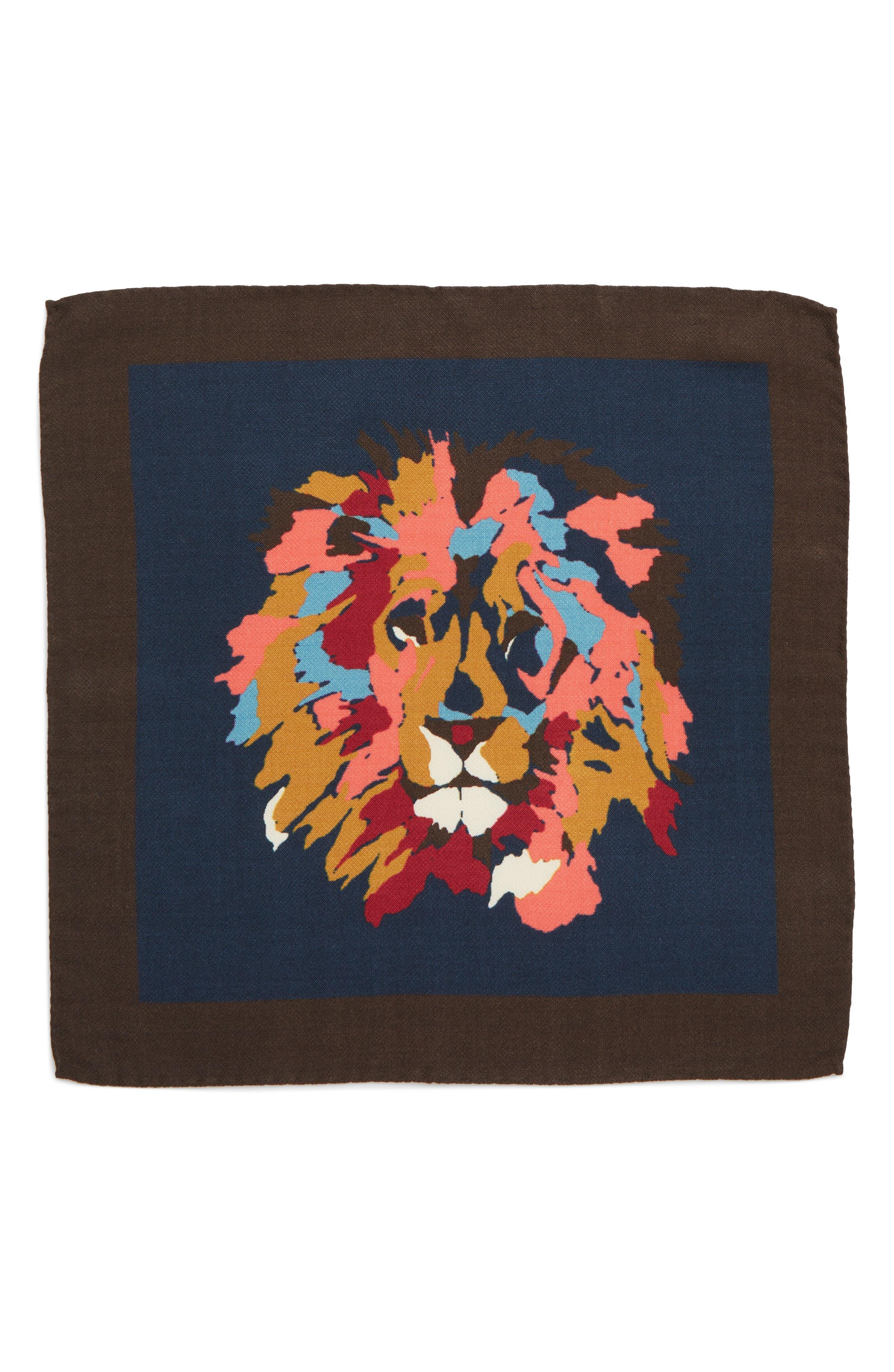 Lion Print Wool Blend Pocket Square,                             Alternate thumbnail 2, color,                             LION FACE NIGHT