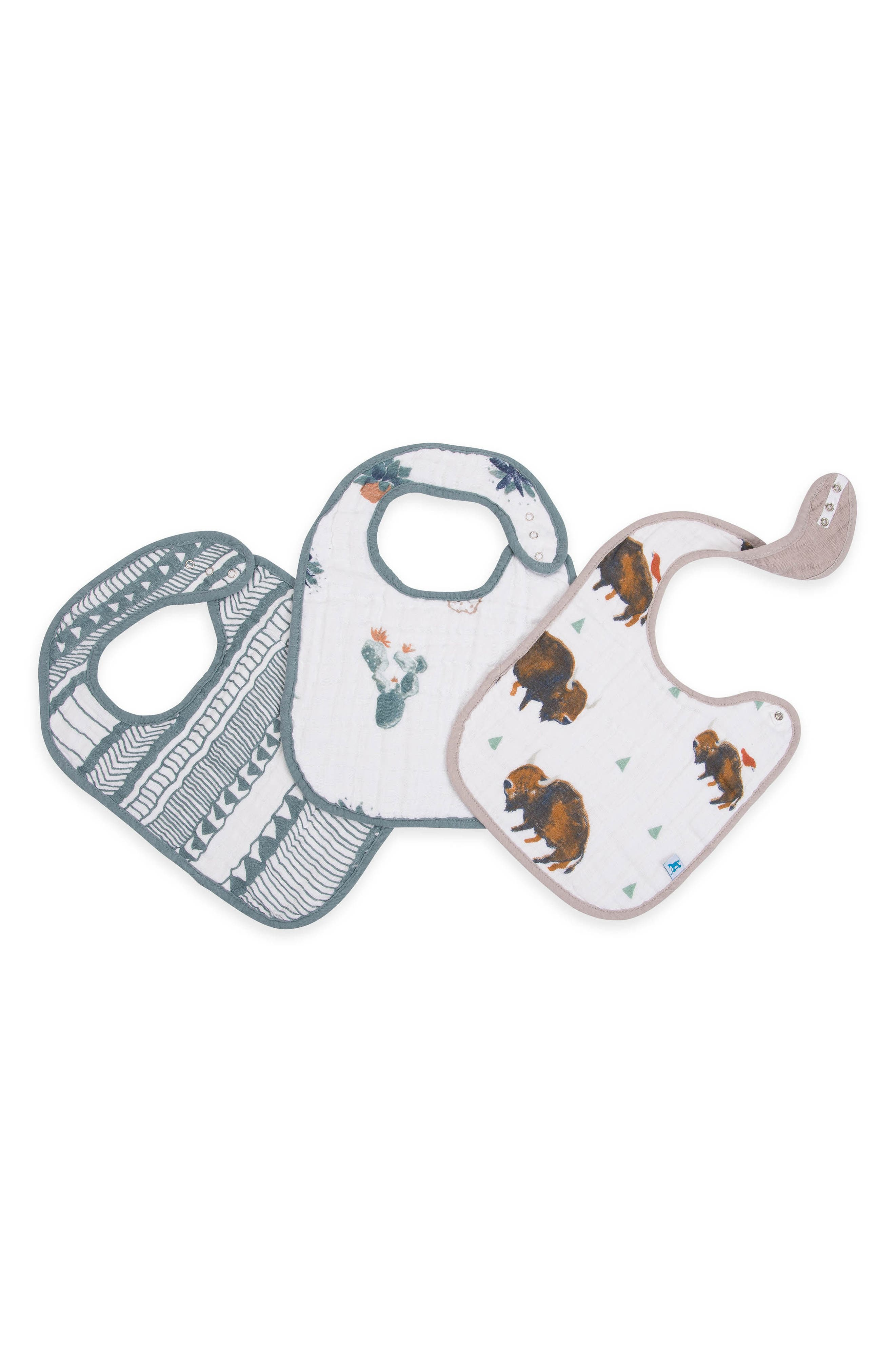 3-Pack Classic Cotton Muslin Bibs,                         Main,                         color, BISON