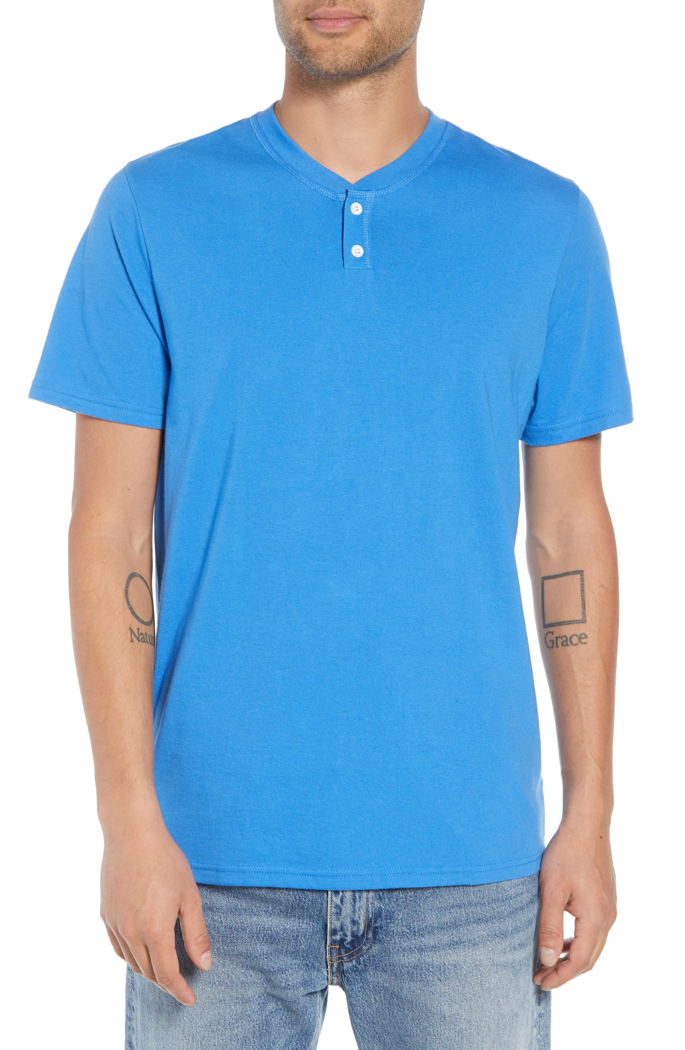 Solid Henley T-Shirt,                         Main,                         color, BLUE BLISS