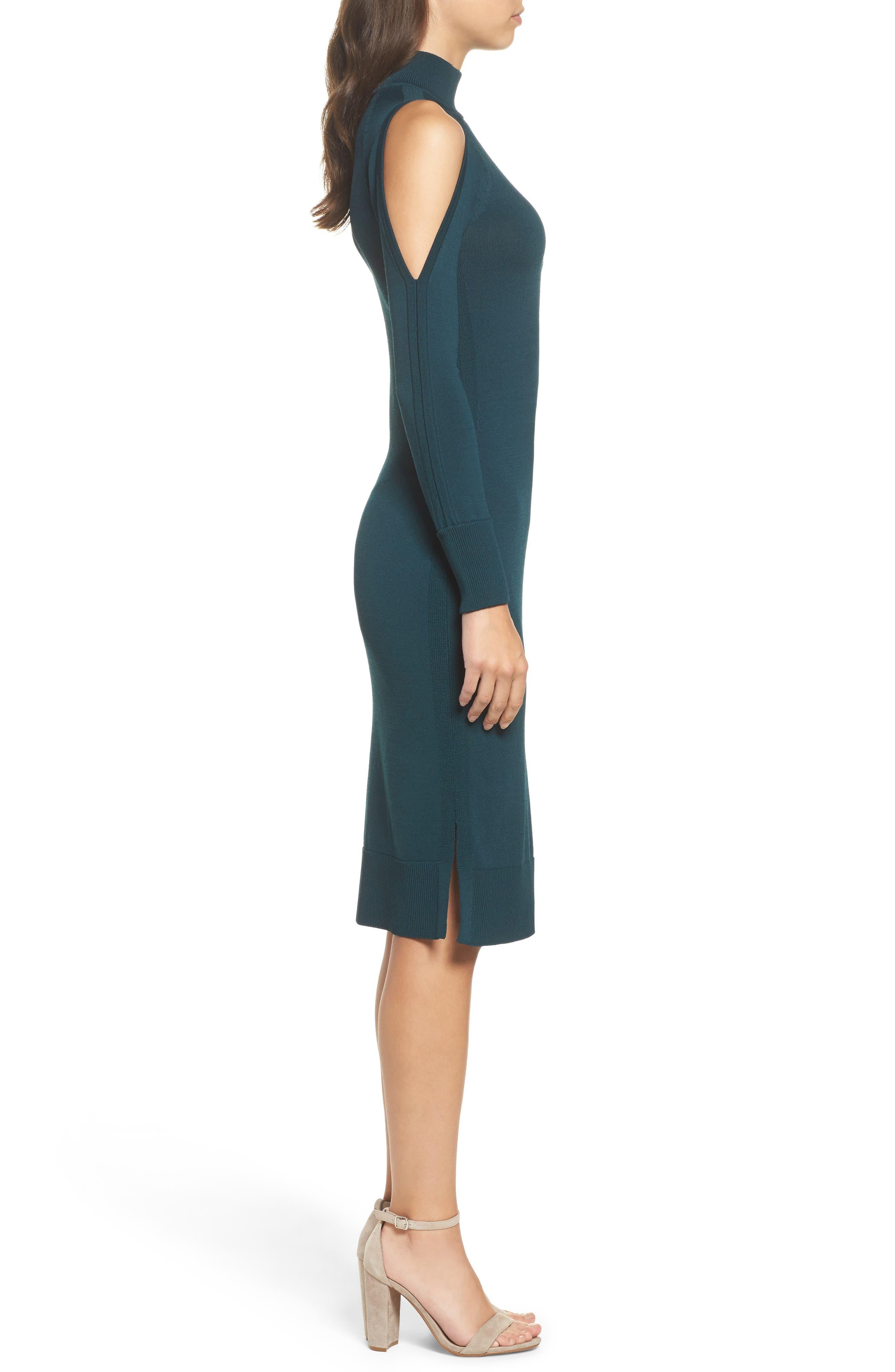 Cold Shoulder Turtleneck Dress,                             Alternate thumbnail 3, color,
