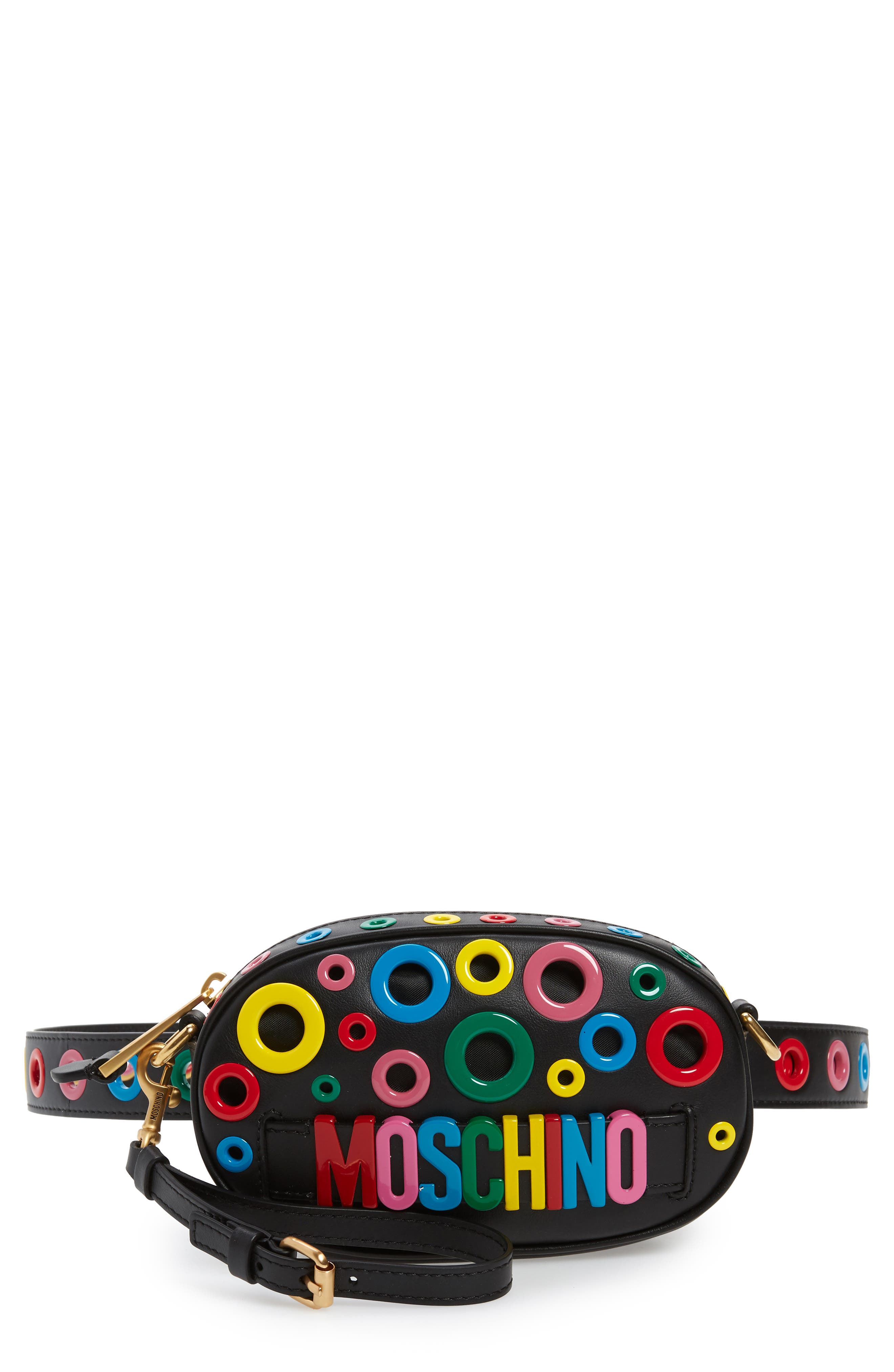 MOSCHINO,                             Multi Grommet Belt Bag,                             Main thumbnail 1, color,                             BLACK