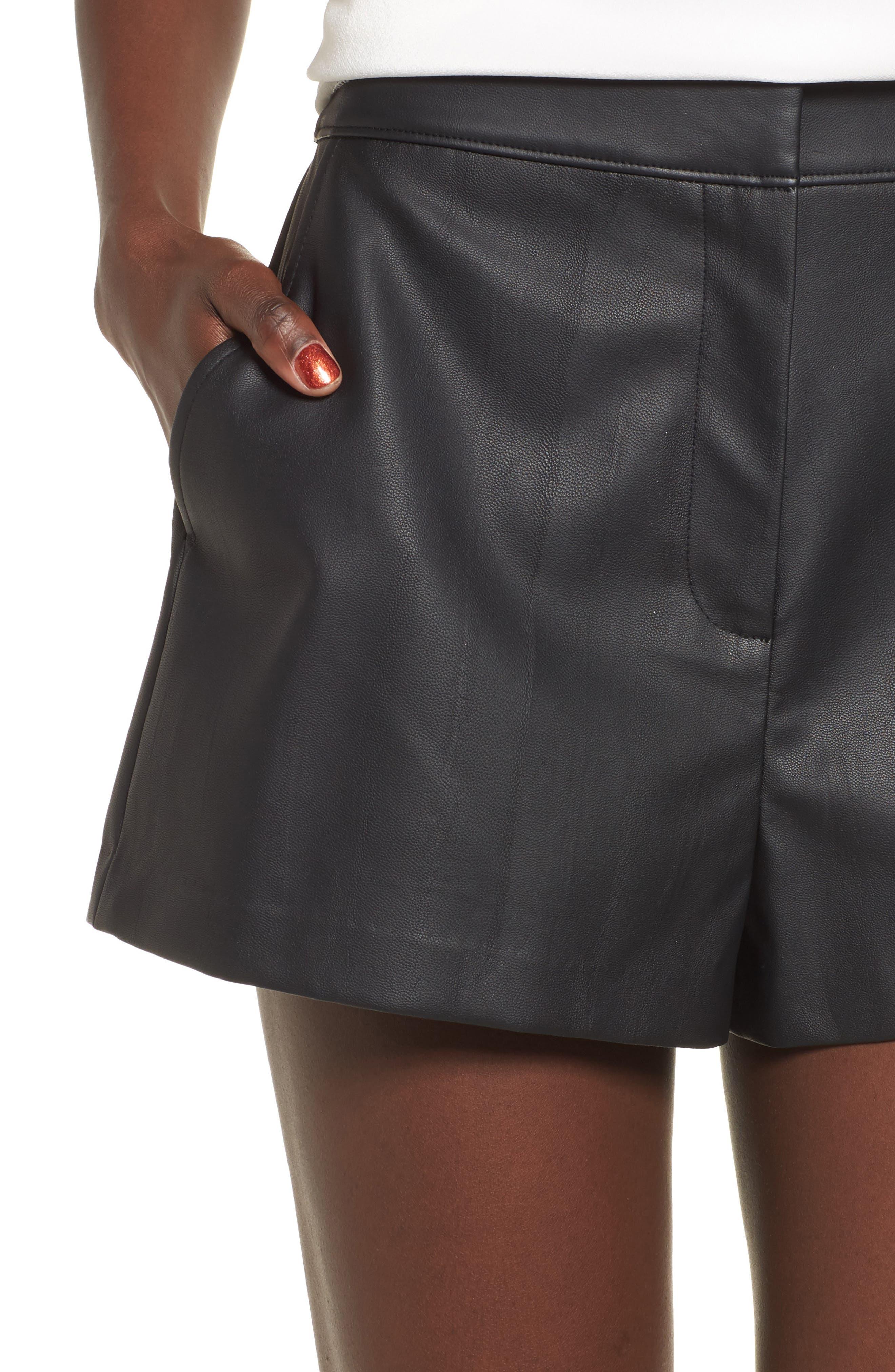 High Waist Faux Leather Shorts,                             Alternate thumbnail 4, color,