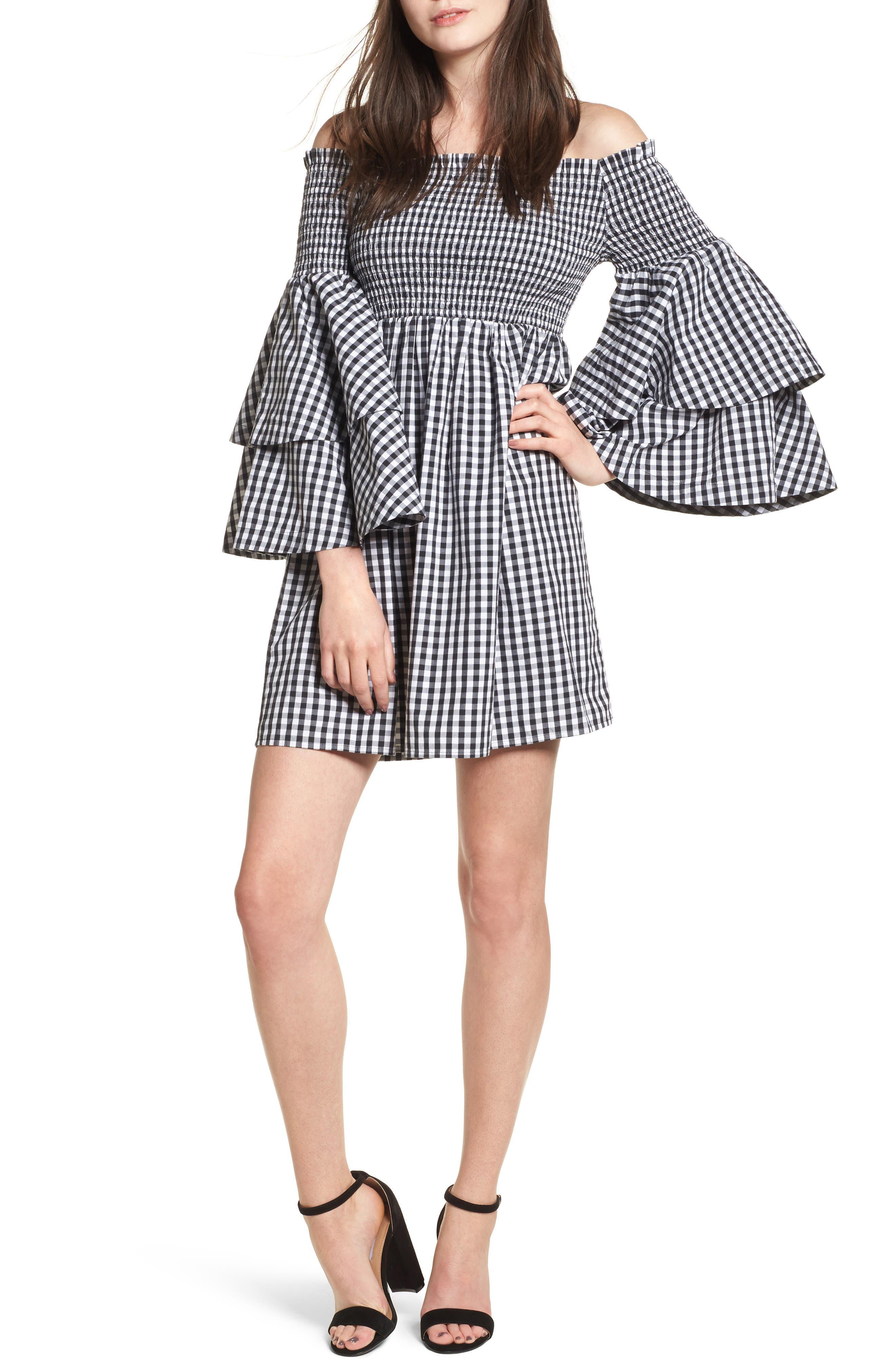 Smocked Off the Shoulder Bell Sleeve Dress,                         Main,                         color, 001