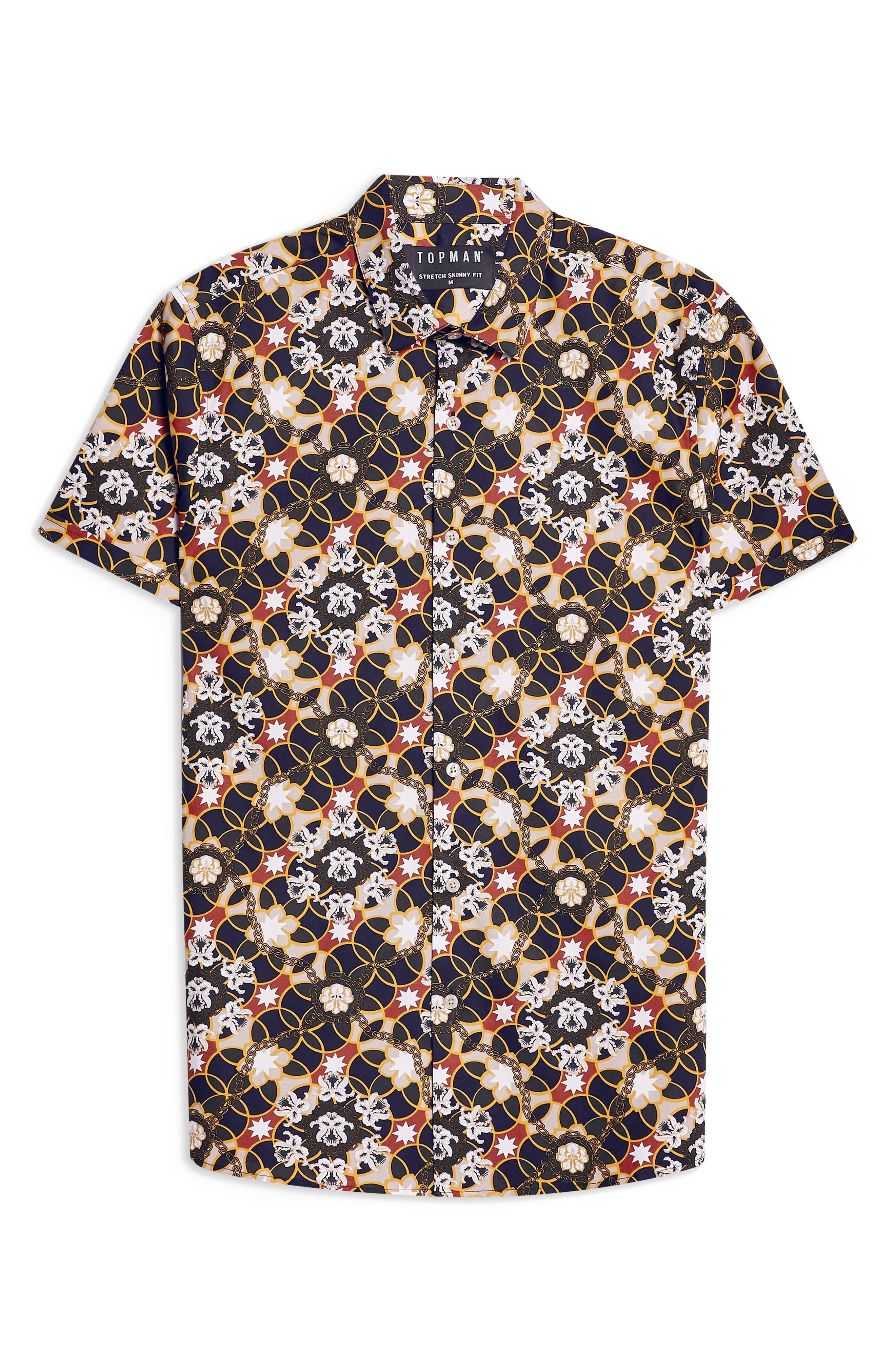Star Floral Skinny Smart Woven Shirt,                             Alternate thumbnail 4, color,                             BLUE MULTI