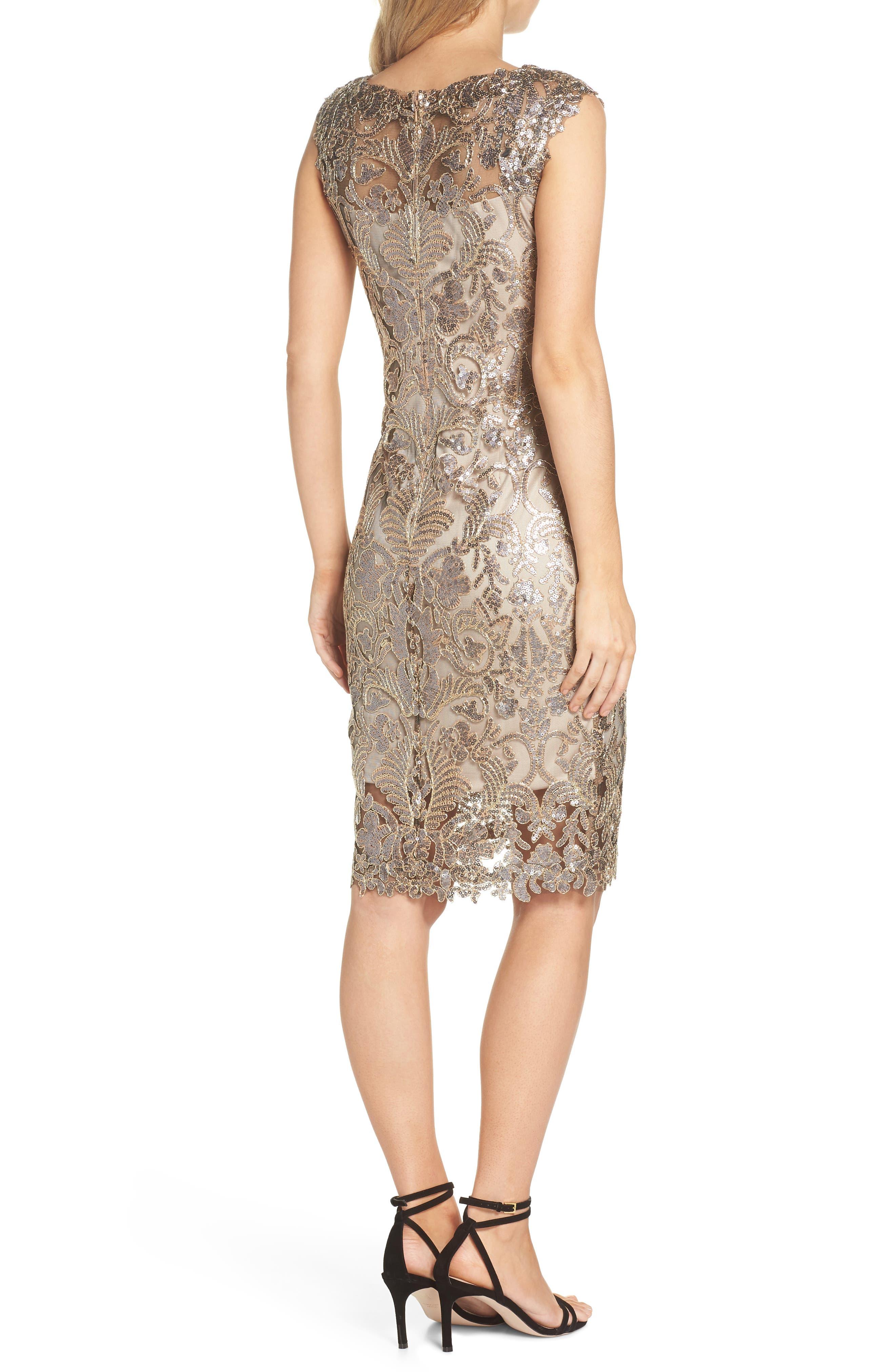 Sequin & Lace Sheath Dress,                             Alternate thumbnail 2, color,                             COPPER SHADOW