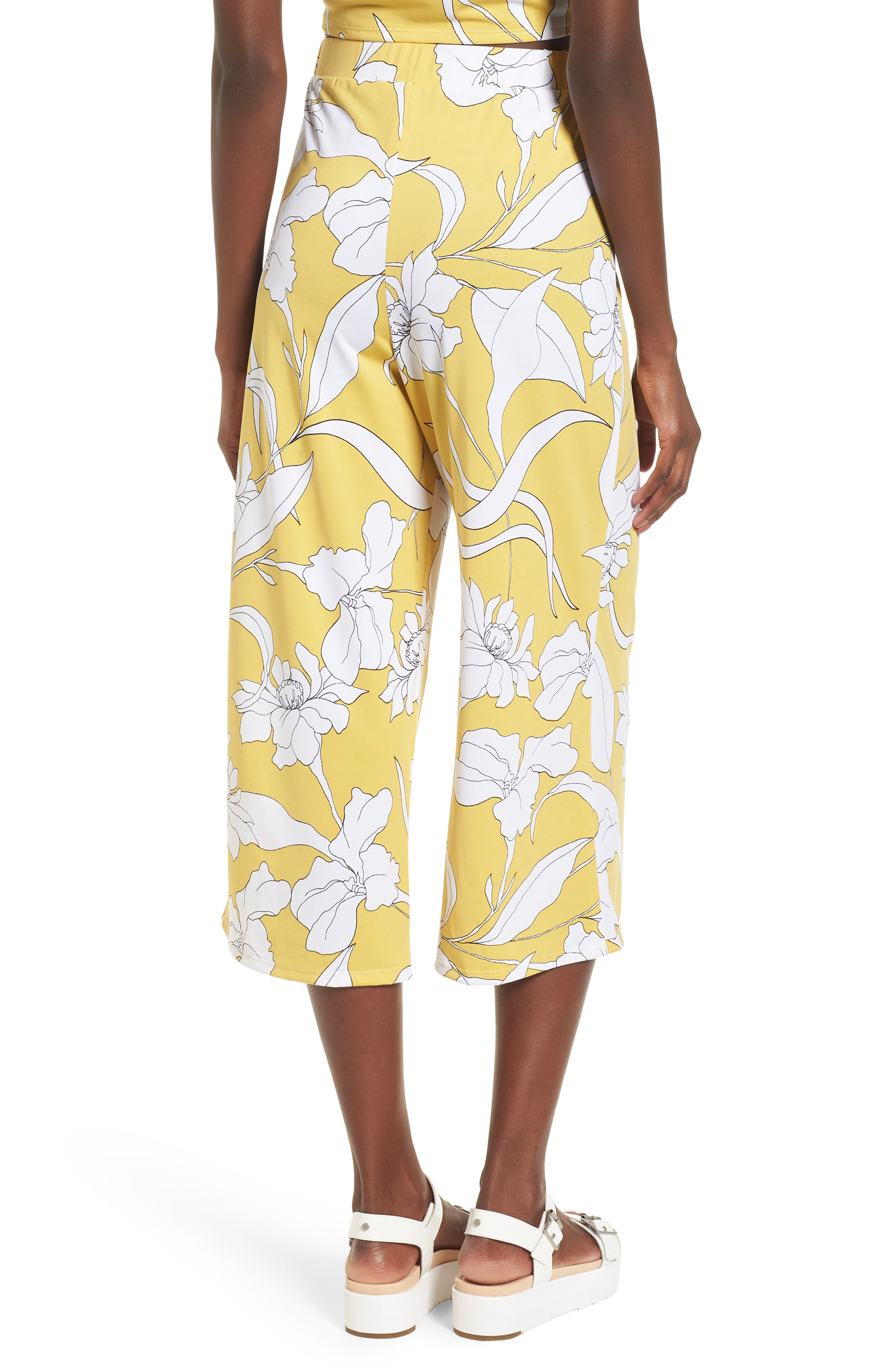 Floral Print Wide Leg Crop Pants,                             Alternate thumbnail 2, color,